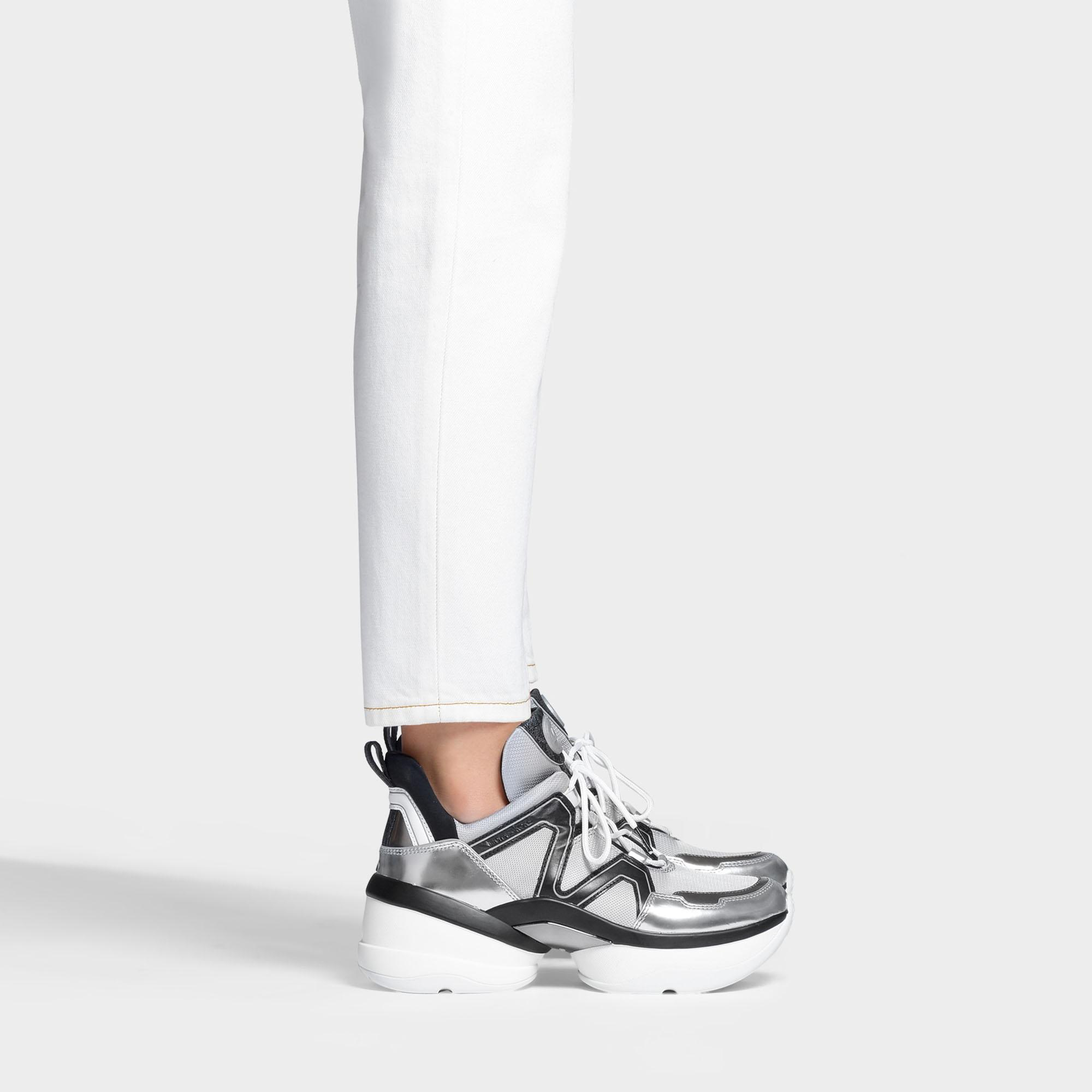187842a10e MICHAEL Michael Kors Olympia Oversized Trainers In Black And Silver ...