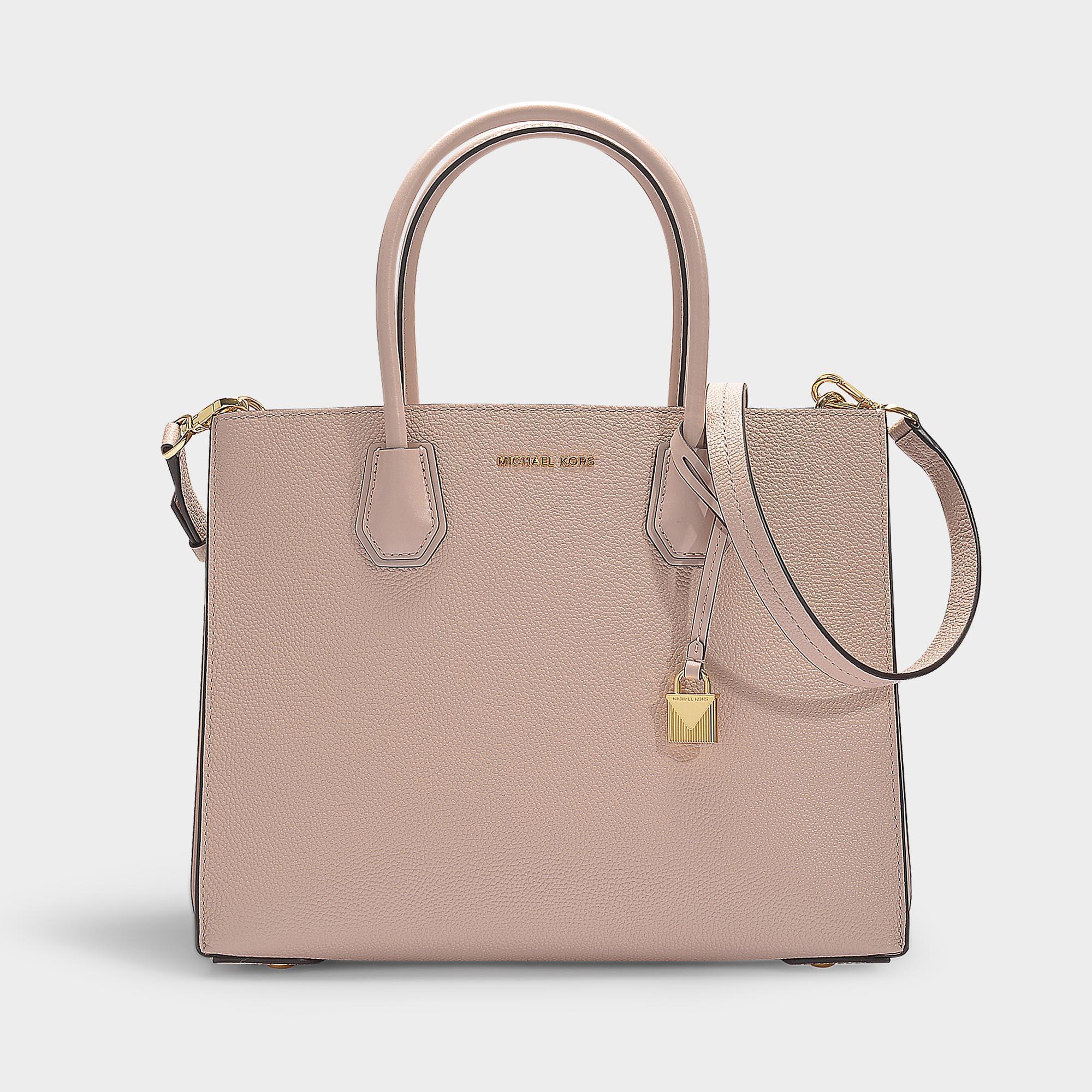 0d79e47e3b91 MICHAEL Michael Kors. Women s Mercer Large Accordion Convertible Tote Bag  In Soft Pink Grained Calfskin