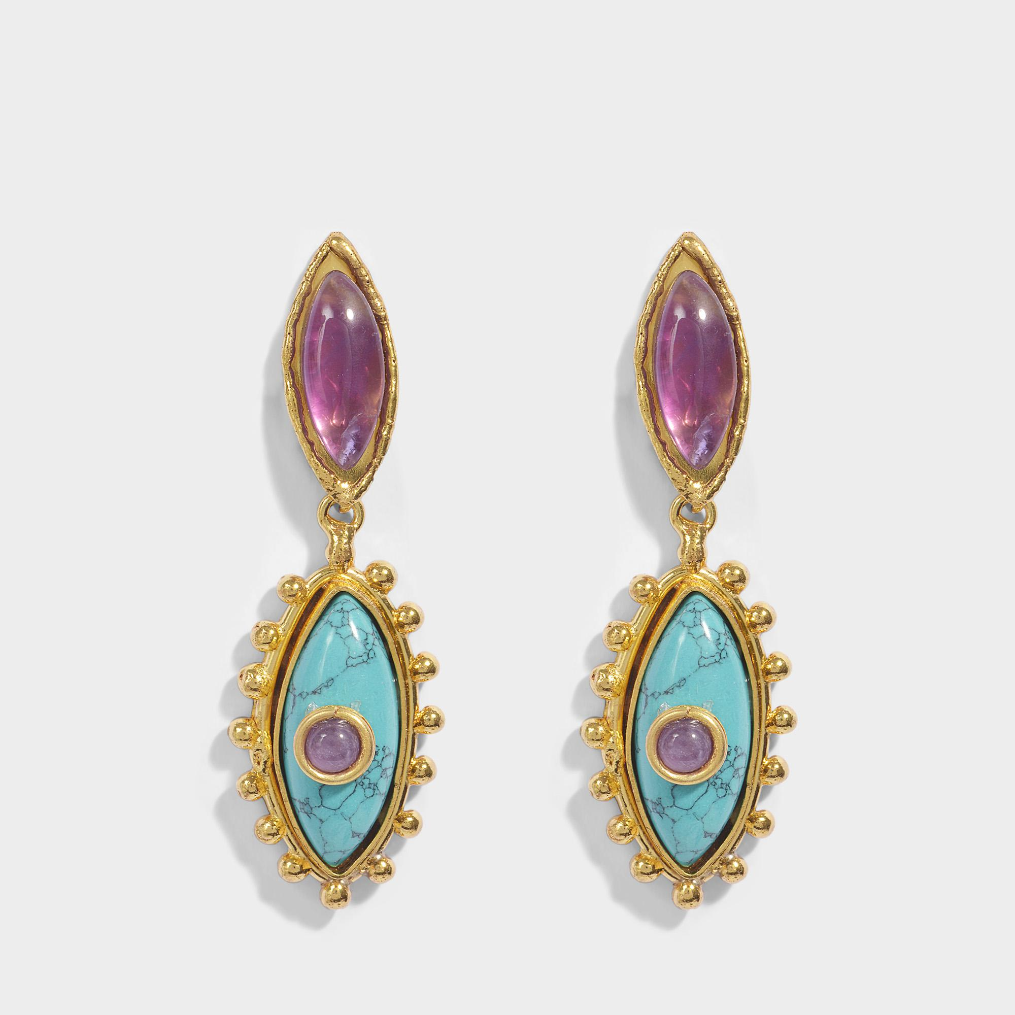 Sylvia Toledano The Third Eye Earrings in Gold-Plated Brass with Amethyst, Turquoise and Ametyst