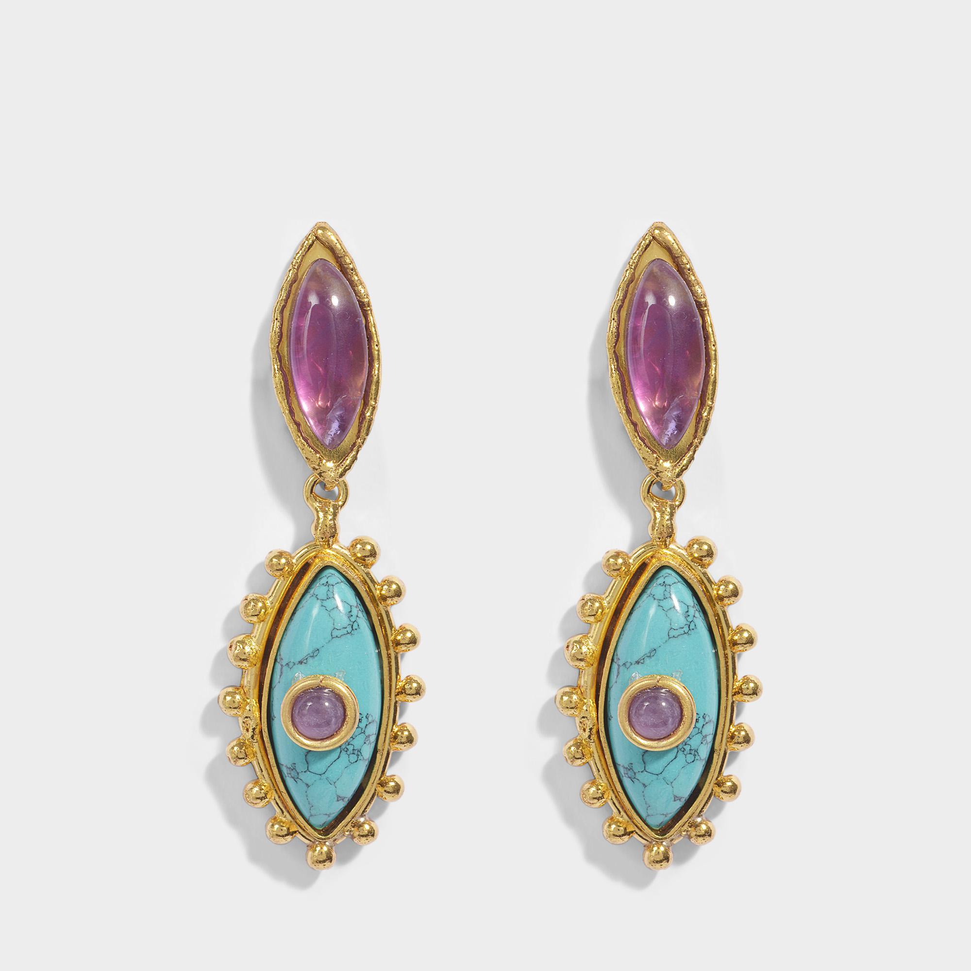 Sylvia Toledano The Third Eye Hoop Earrings in Gold-Plated Brass k2pvC