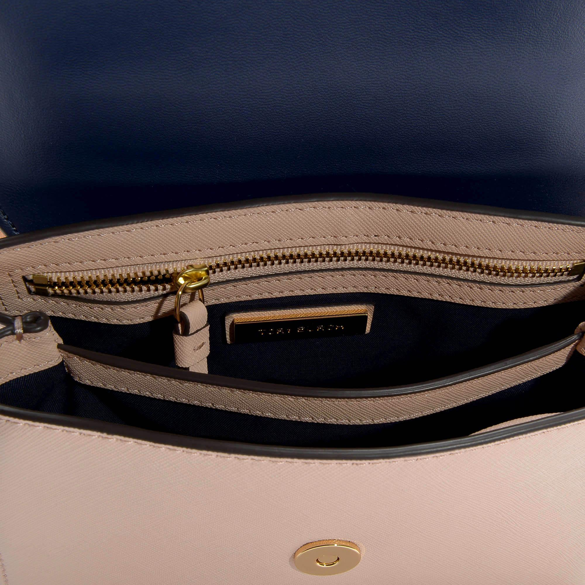 d3ec7c9ccedc Tory Burch - Pink Robinson Small Top-handle Satchel In Pale Apricot And  Royal Navy. View fullscreen