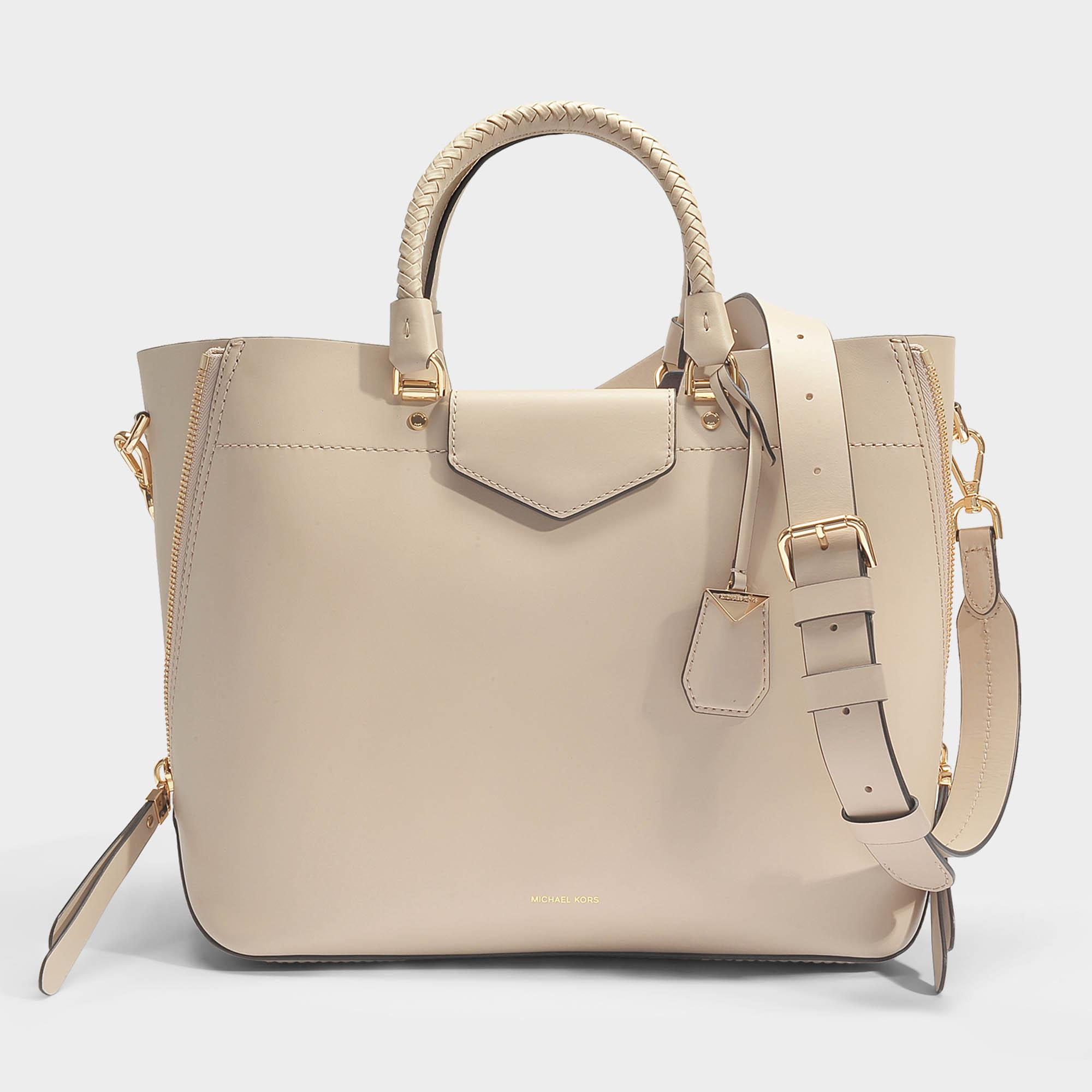 223e5ba97f84 Lyst - MICHAEL Michael Kors Blakely Large Tote Bag In Oat Viola Leather