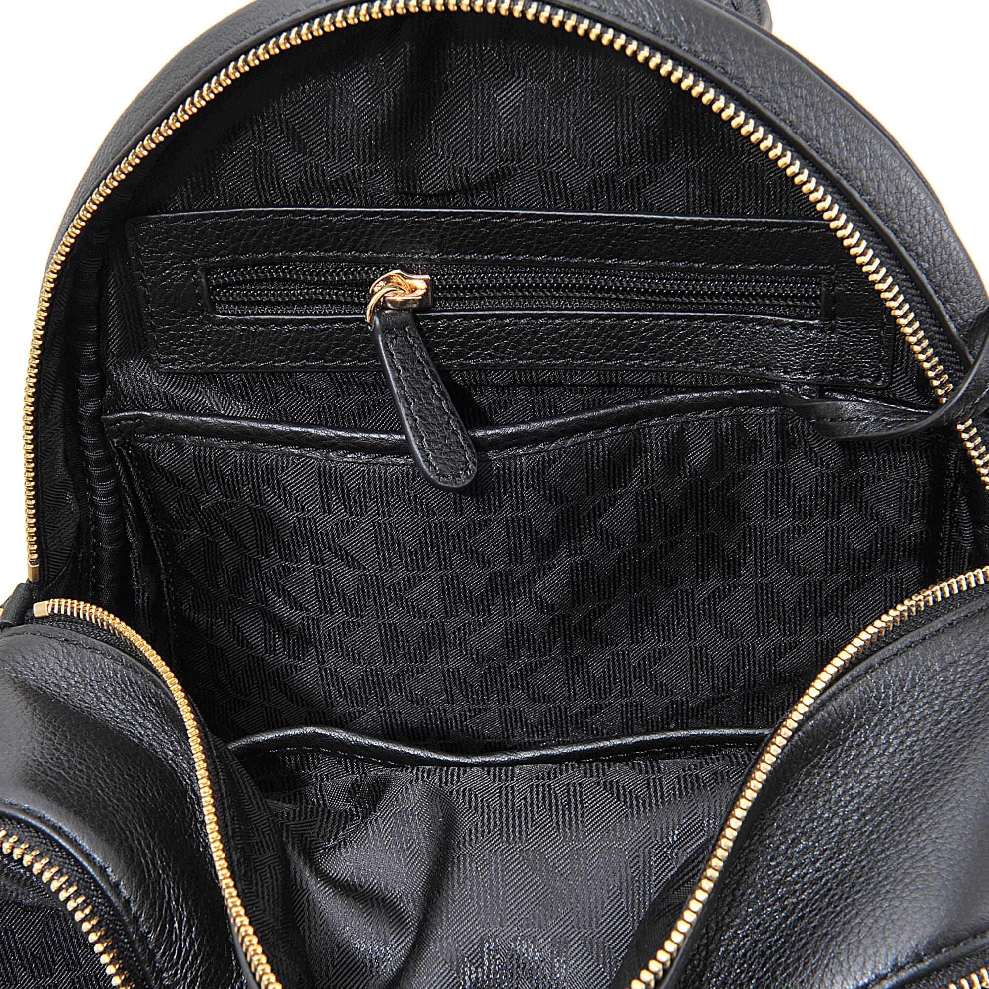 MICHAEL Michael Kors Leather Rhea Zip Md Backpack in Black