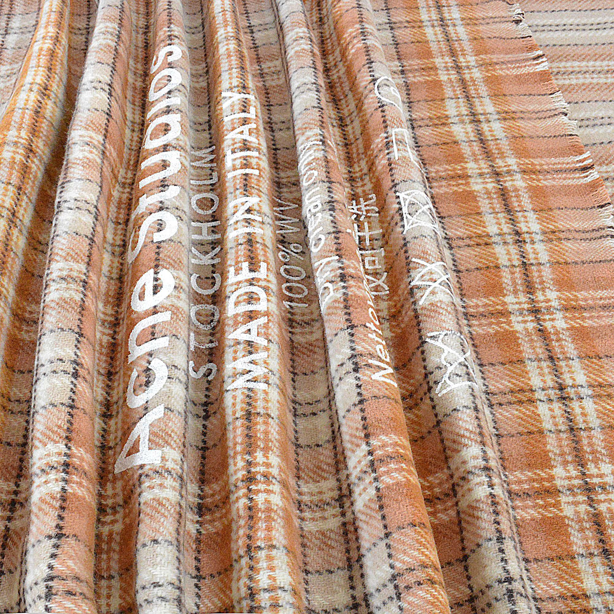 9b33face471a Lyst - Echarpe cassiar check en laine beige et marron Acne Studios ...