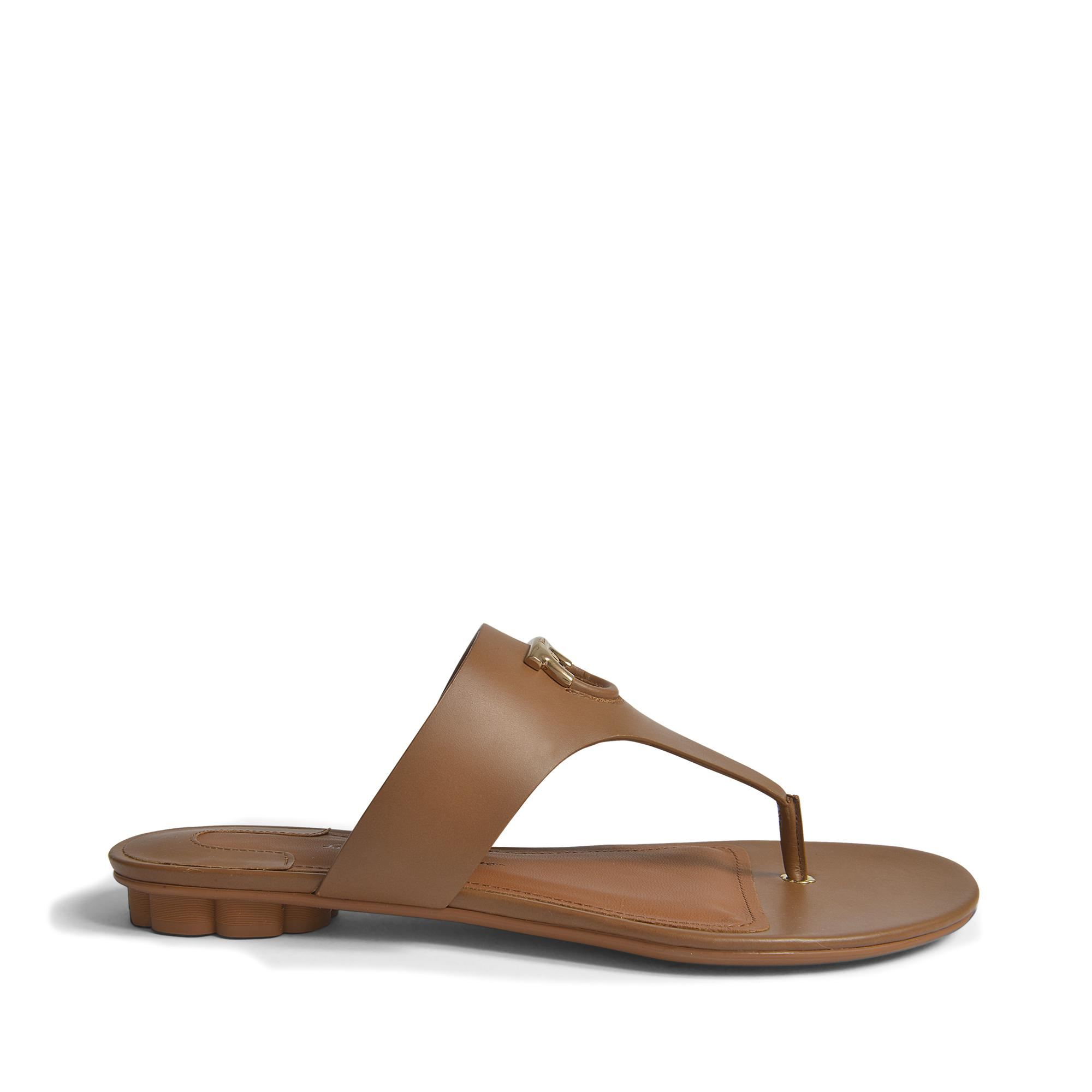Enfola Thong Shoes in Medium Brown Alexand Calf Leather Salvatore Ferragamo