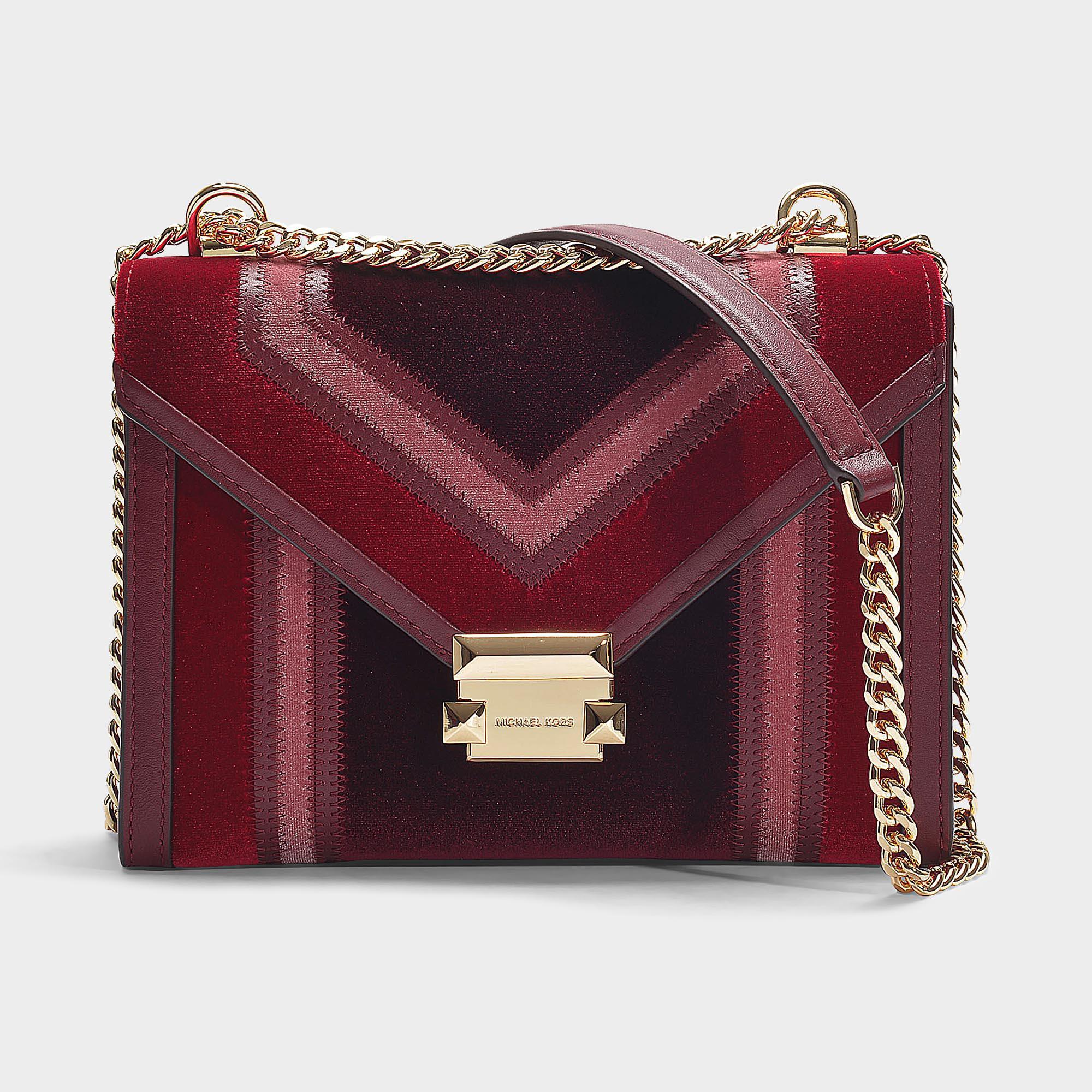 14ca3096a928 MICHAEL Michael Kors Whitney Large Shoulder Bag In Burgundy Velvet ...