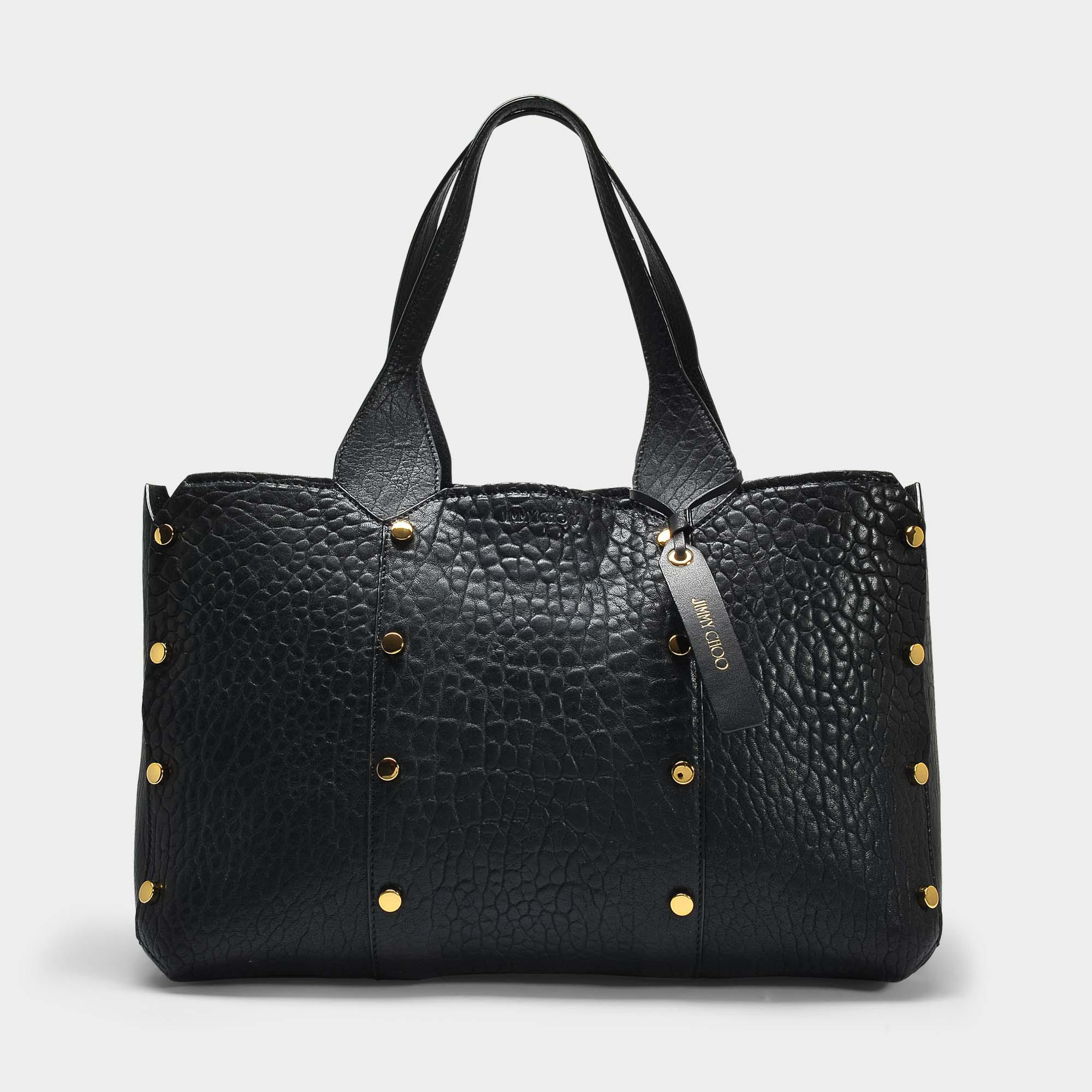 5b3de62e1aa4 Jimmy Choo - Blue Lockett Zipped Shopper S In Black Grained Calfskin - Lyst.  View fullscreen