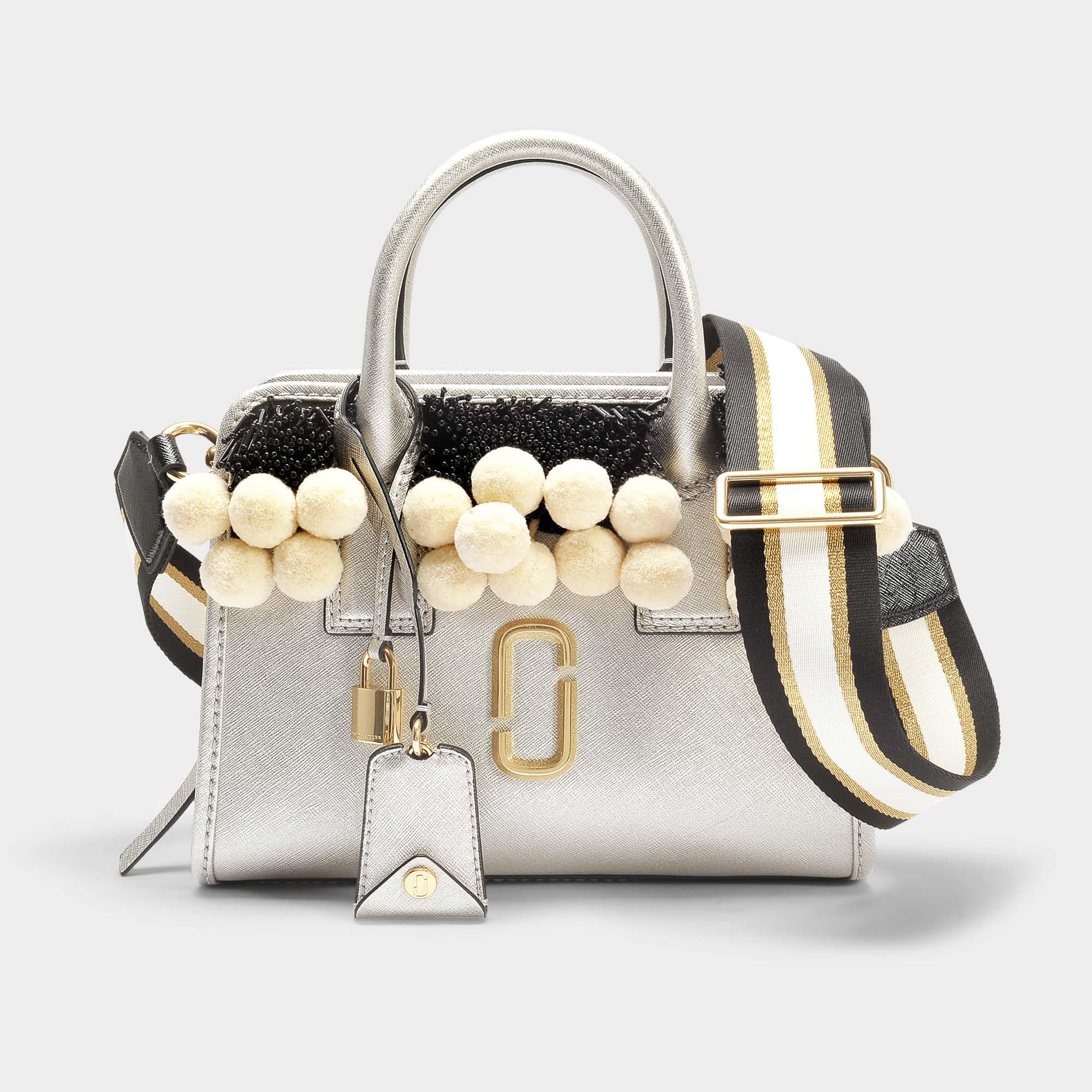 cd2769e9f1c22 Lyst - Marc Jacobs Beads And Poms Little Big Shot Bag In Platinum ...