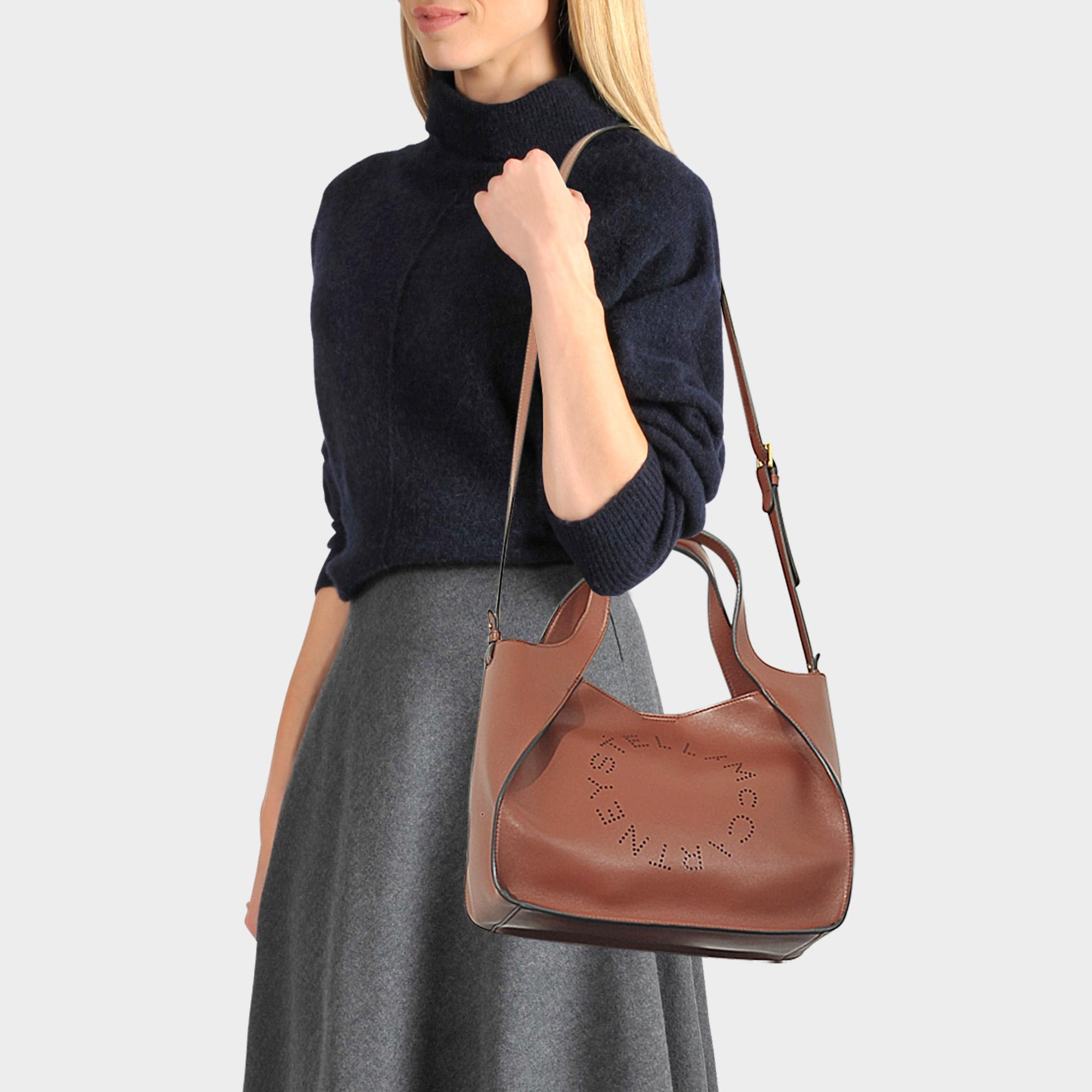 Lyst - Stella McCartney Alter Nappa Stella Logo Bag In Brown ... 9b73236854c68