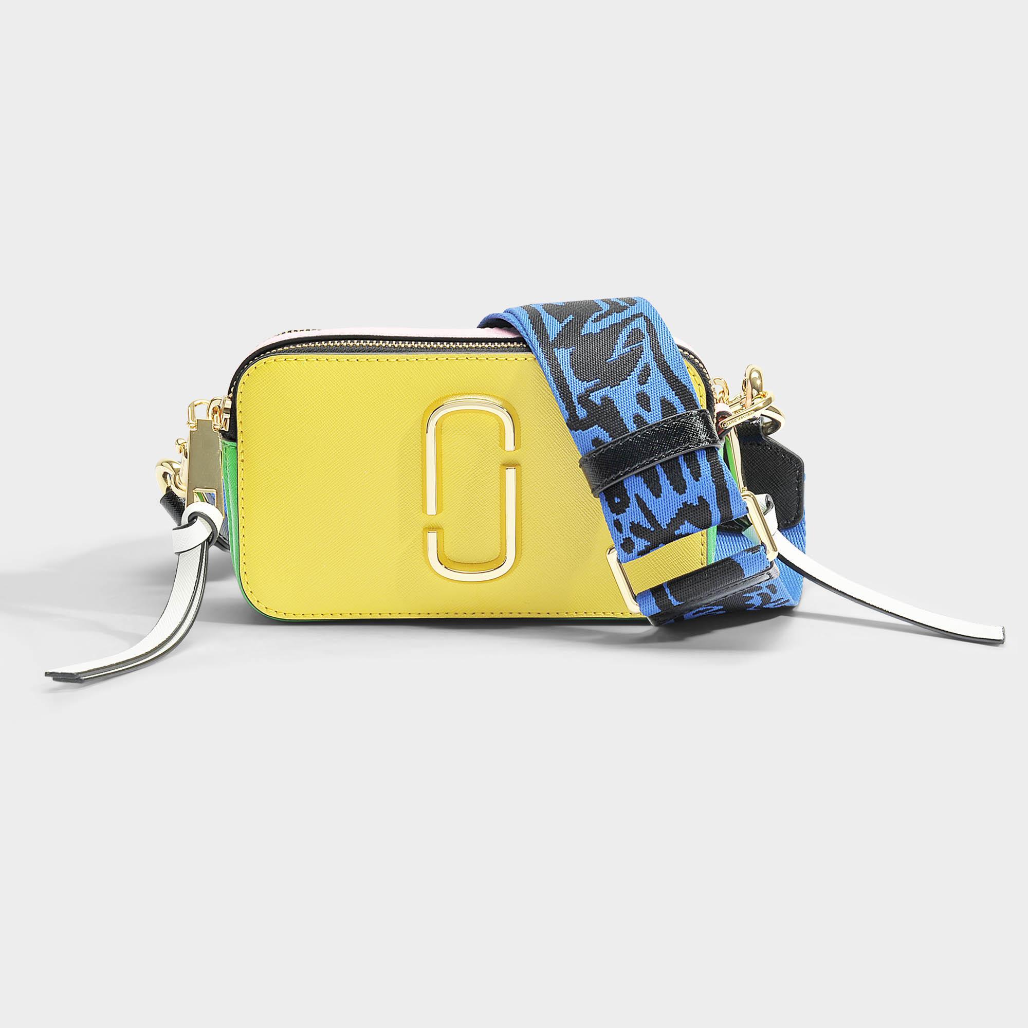 Snapshot Crossbody Bag In Multicolor Yellow Polyurethane Coated Calfskin