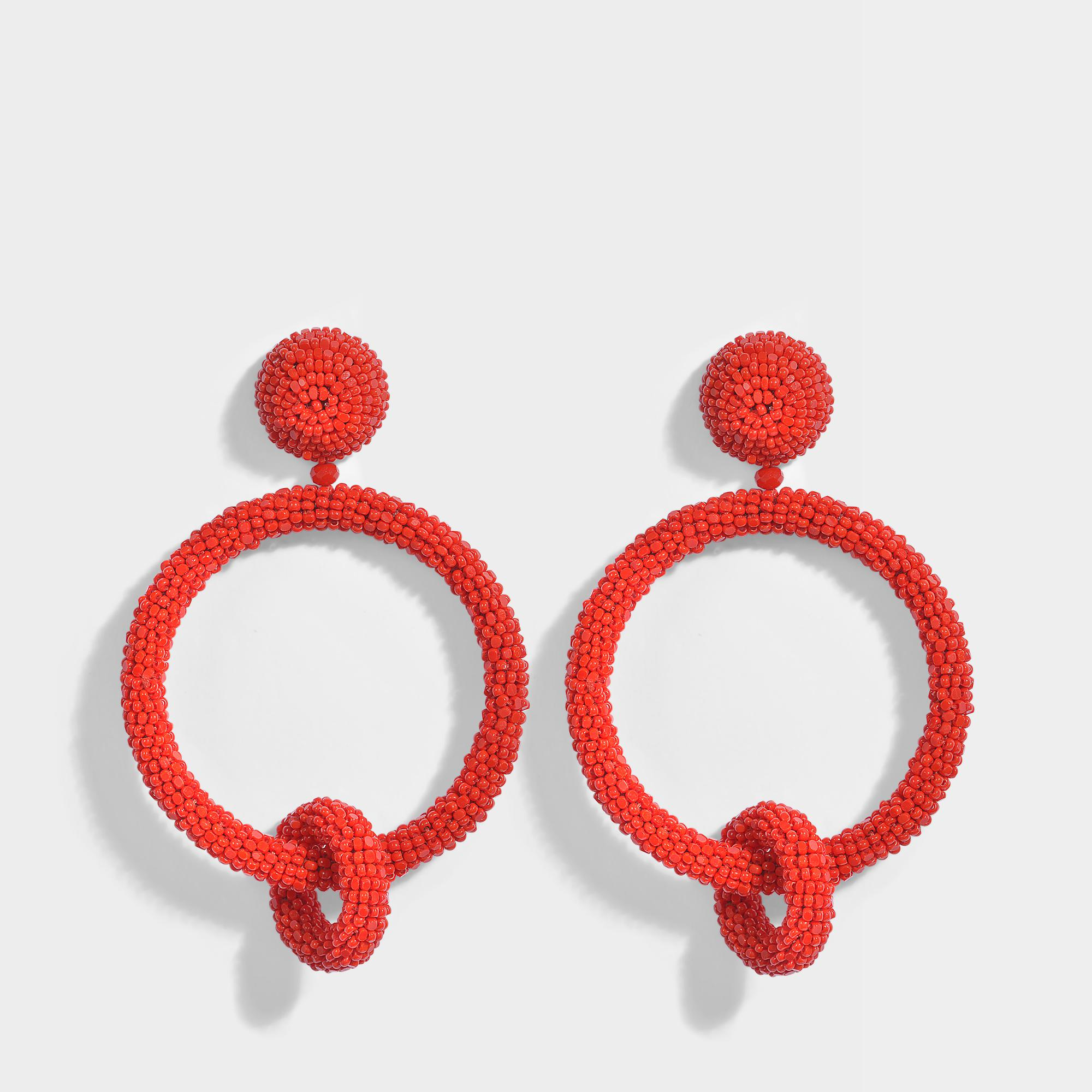 Oscar De La Renta Beaded Double Hoop Clip Earrings in Carmine Synthetic ilS2Lsnv