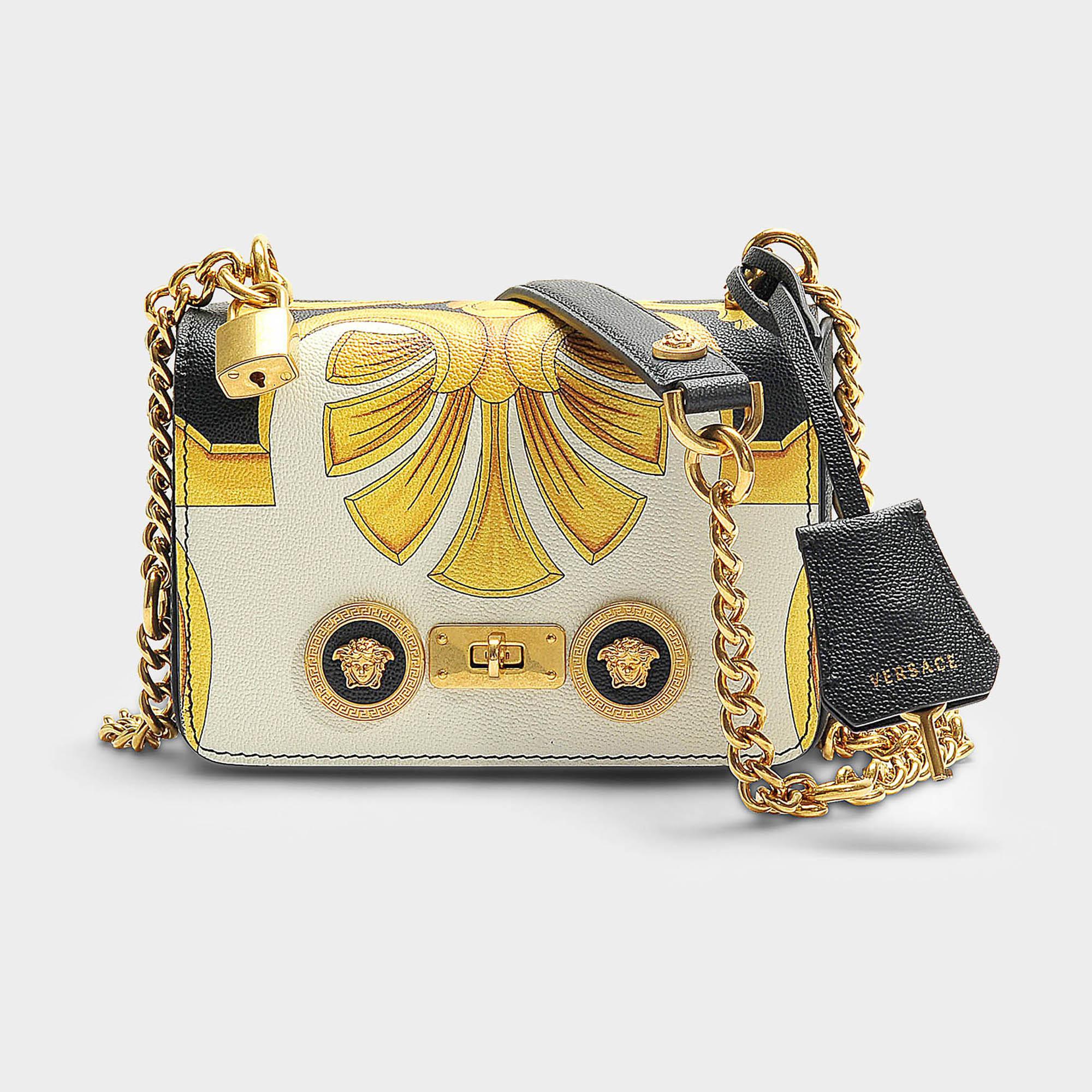 701f4dff536a Versace. Women s Small Barocco Shoulder Bag In Black Barroco Printed  Calfskin