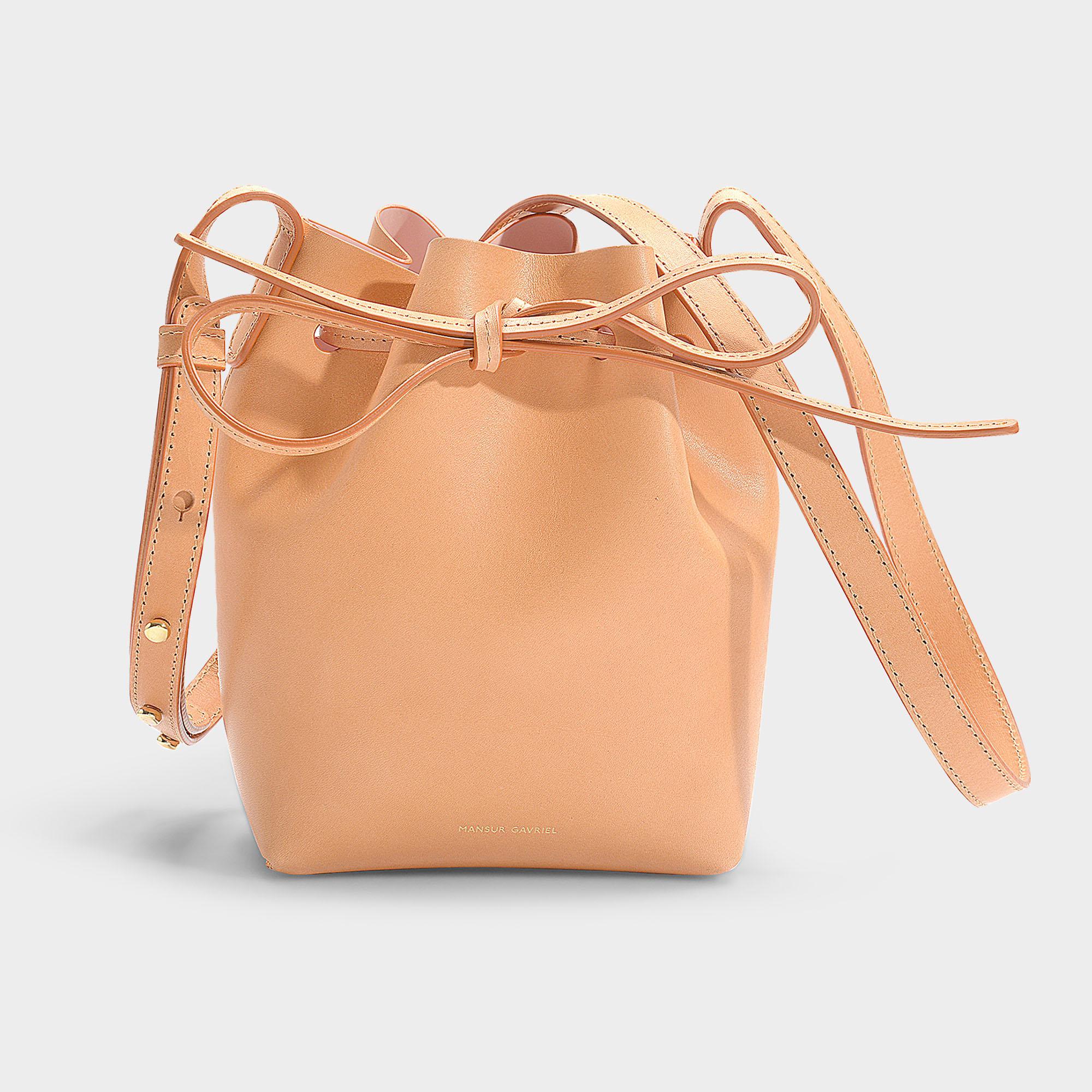 55f324a7a4a6 Mansur Gavriel - Brown Mini Mini Bucket Bag In Beige Calfskin - Lyst. View  fullscreen