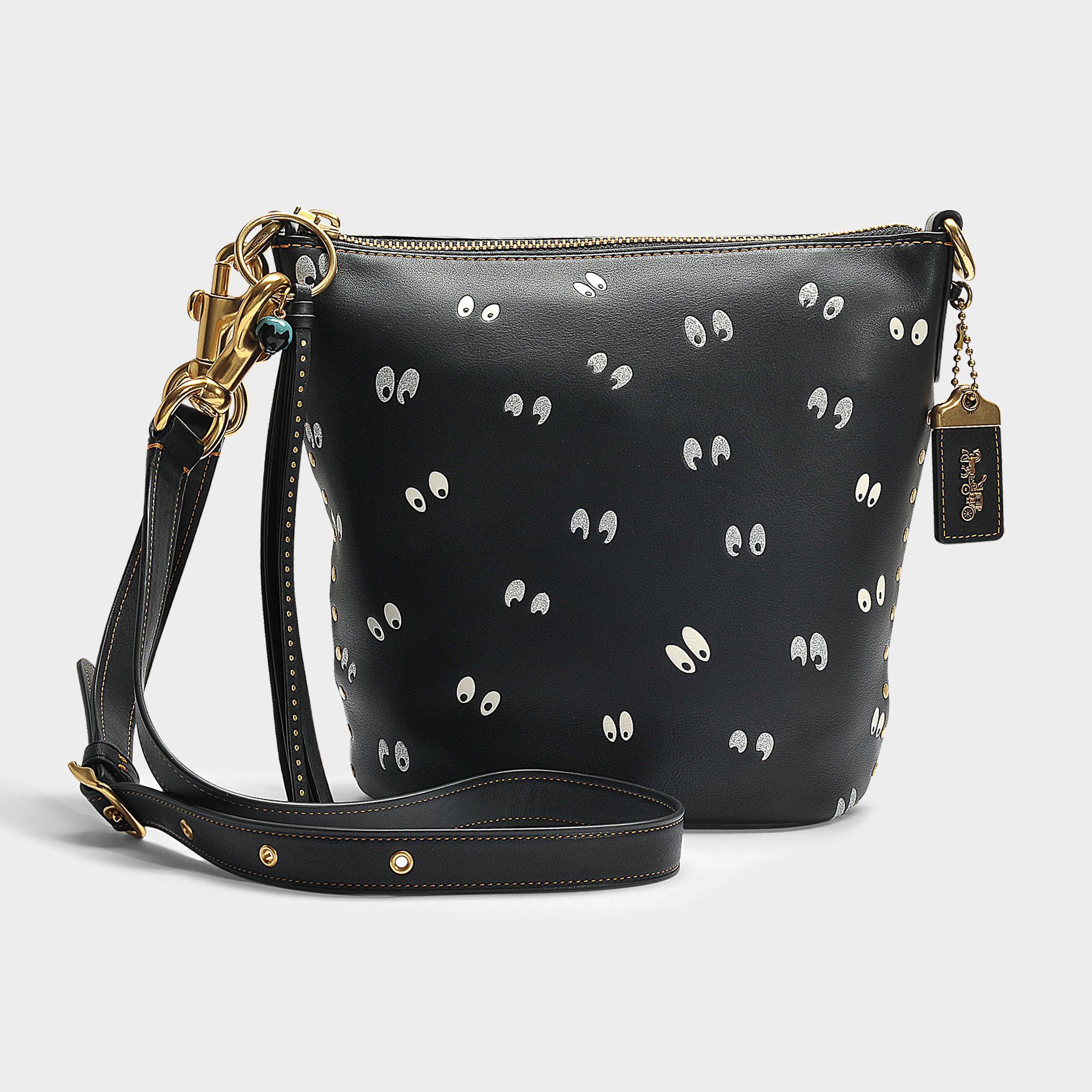 Coach Spooky Eyes Print Duffle 20 Bag In Black Calfskin Lyst