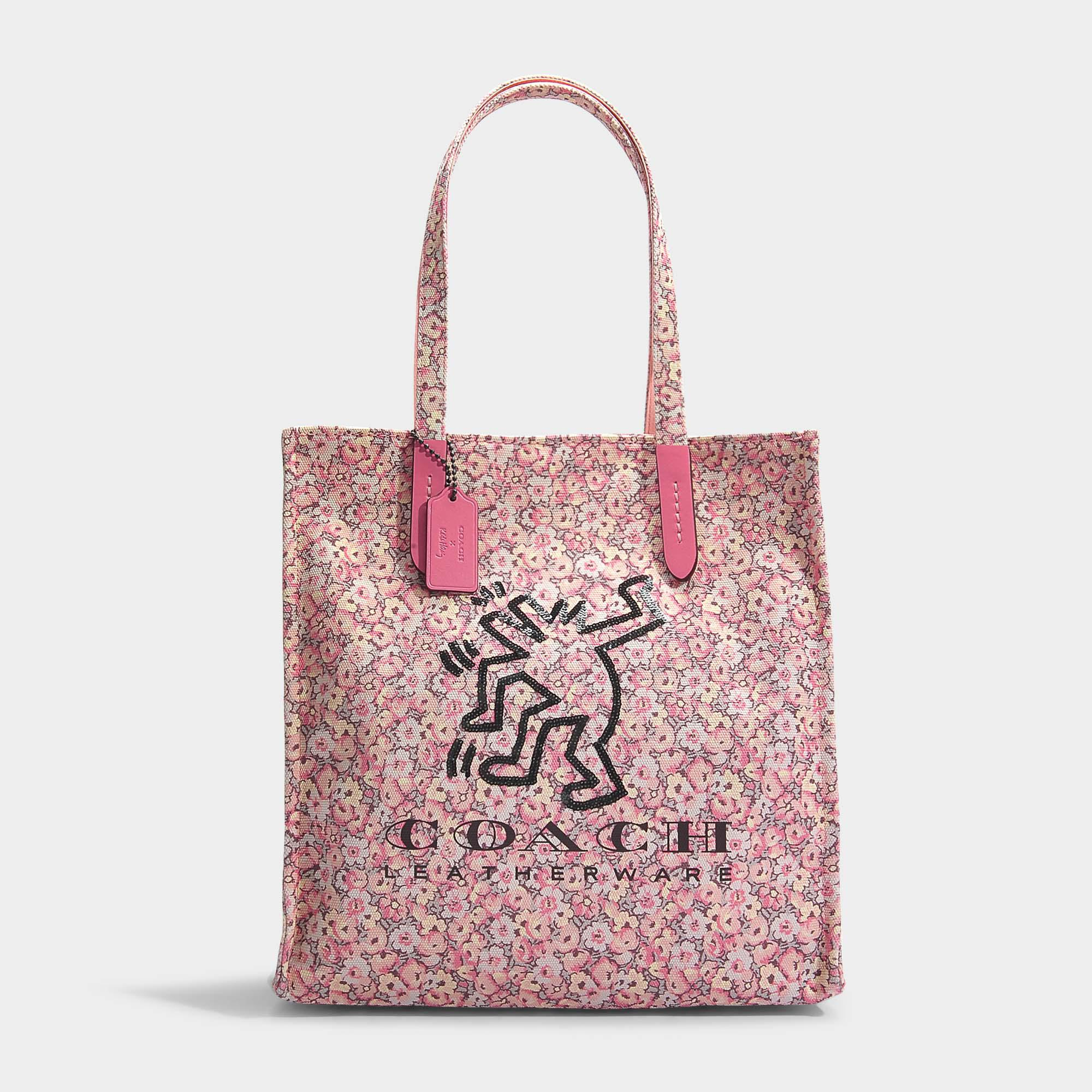 Haring Cabas Keith Sac Pink En Rose Vif Toile Coloris Coach D9YIE2WH