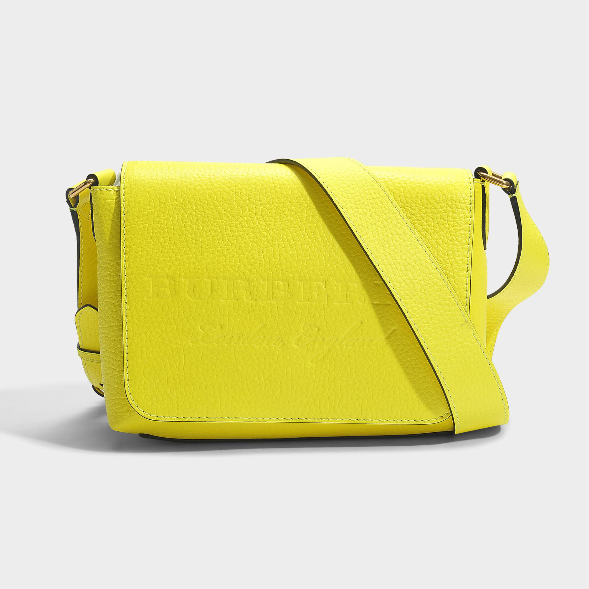 1321b9eb5a5 Lyst - Burberry Small Burleigh Crossbody Bag In Neon Yellow Grained ...