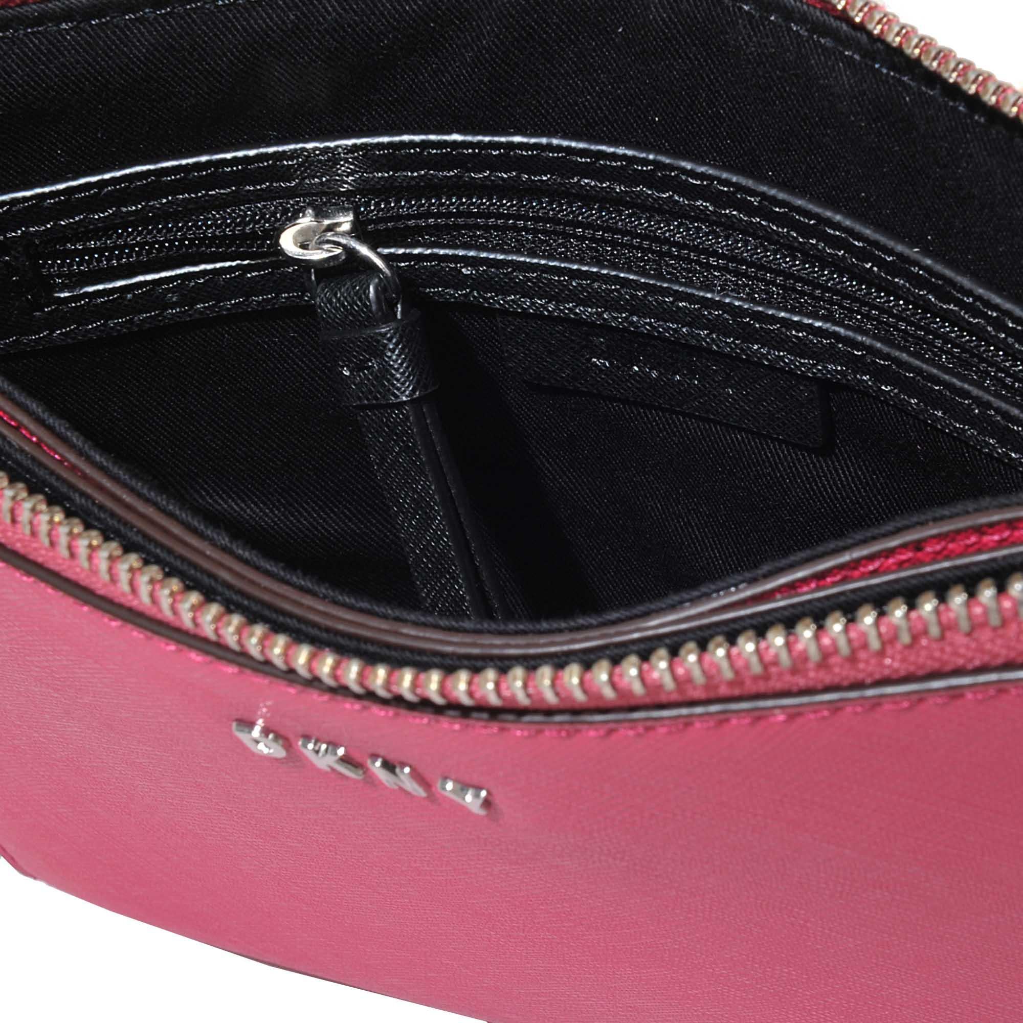 DKNY Leather Bryant Park Flat Top Zip Crossbody in Pink