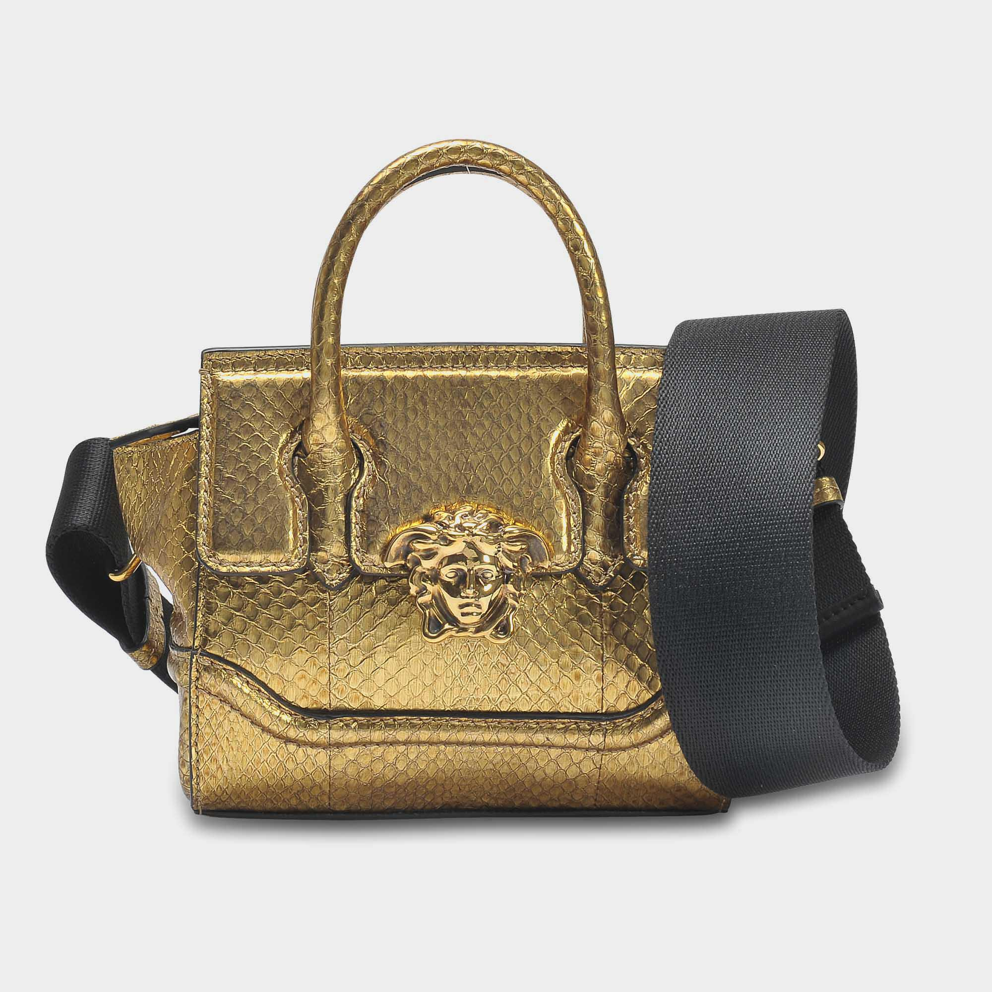 d5c6f79387 Lyst - Versace Palazzo Empire Mini Bag In Gold Watersnake