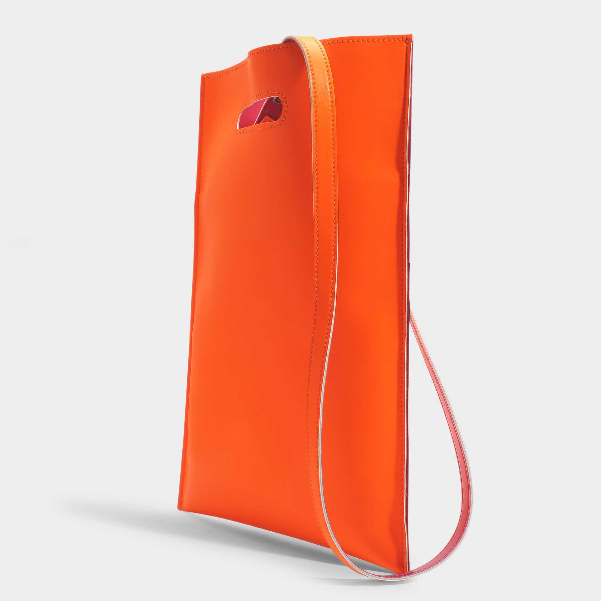 MM6 Maison Margiela Sac Plastic Porté Main en Cuir Synthétique Orange Fluo Eofgzxugo