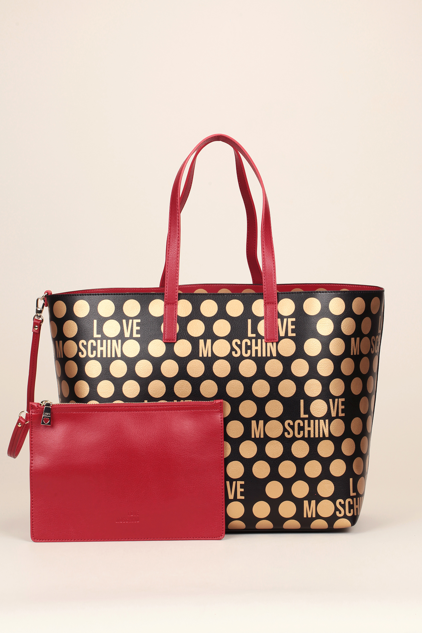 love moschino reversible spotted shopper bag in red lyst. Black Bedroom Furniture Sets. Home Design Ideas