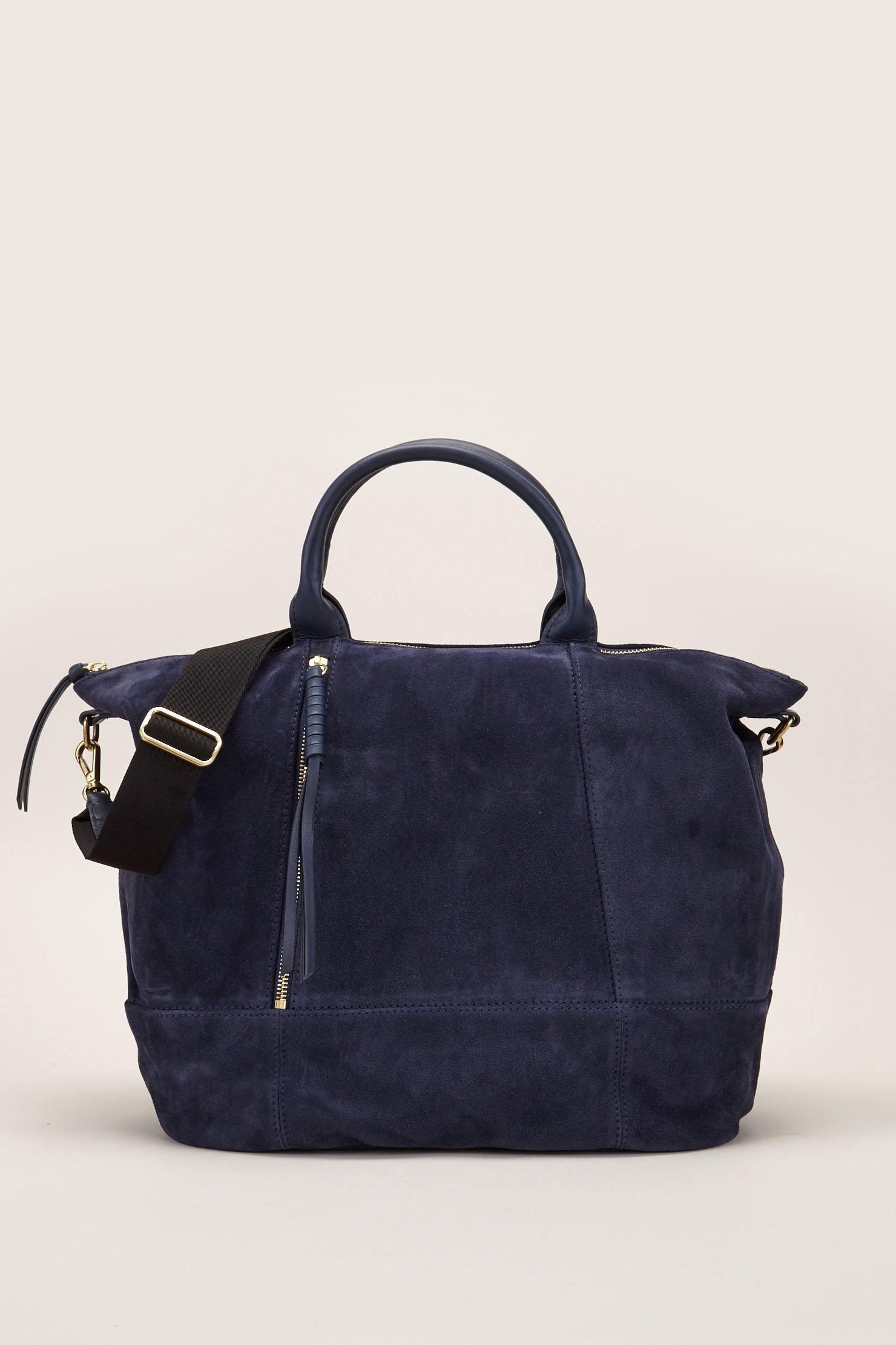 Darel Simple Mini Gerard Sac Fourre-tout 2 En Bleu, Au Large De Blanc Et En Relief En Cuir De Veau Noir