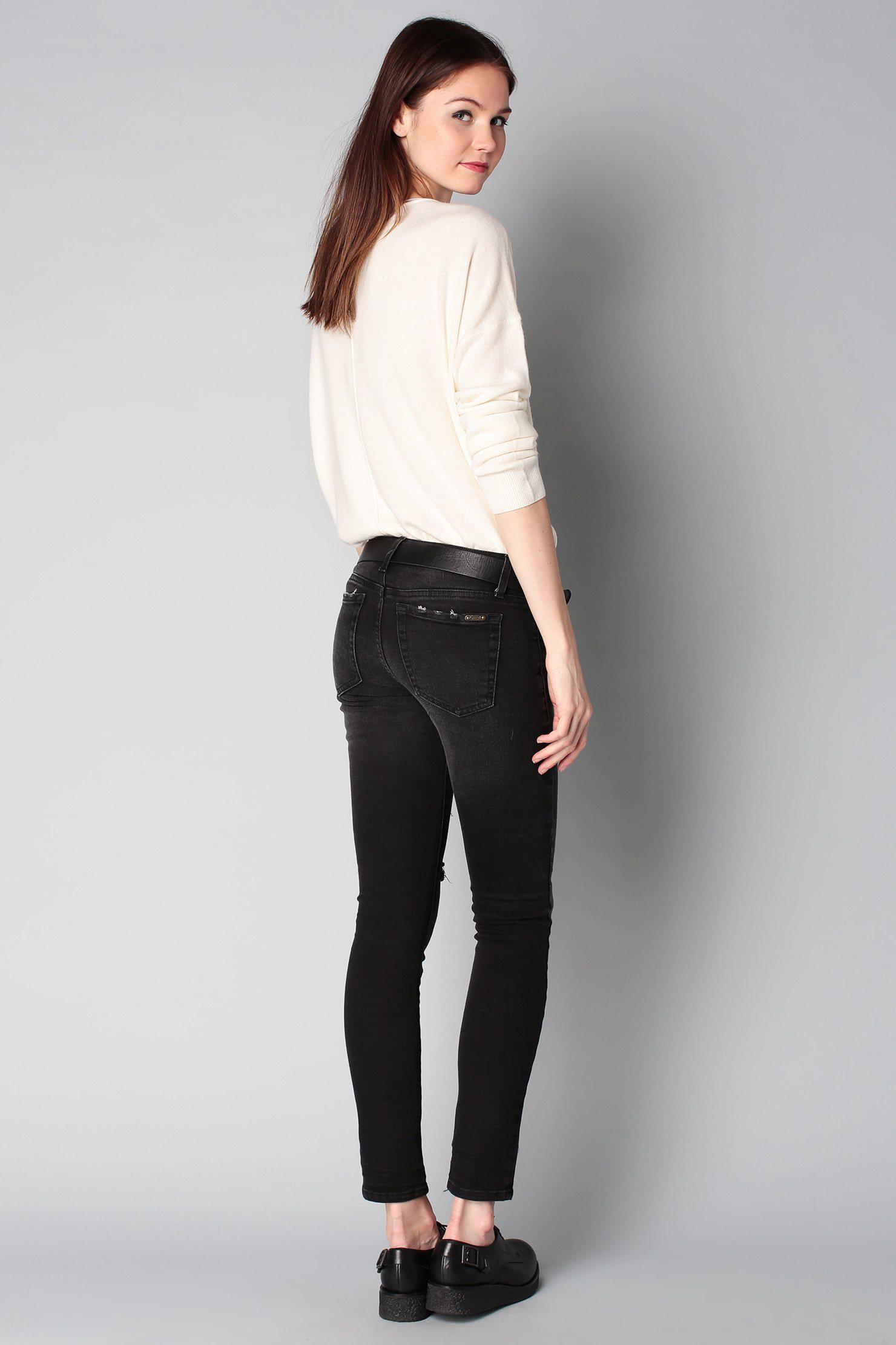 lyst acquaverde slim fit jeans in black. Black Bedroom Furniture Sets. Home Design Ideas