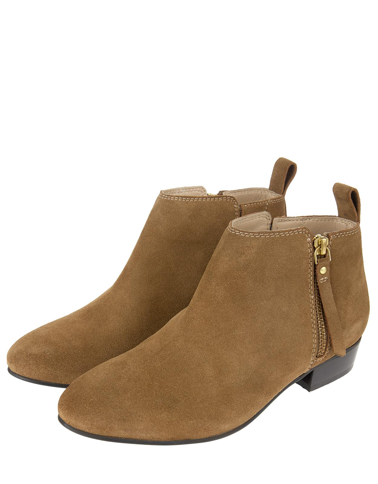 1636cdb361 Monsoon Lacey Low Cut Zip Suede Ankle Boots in Natural - Lyst
