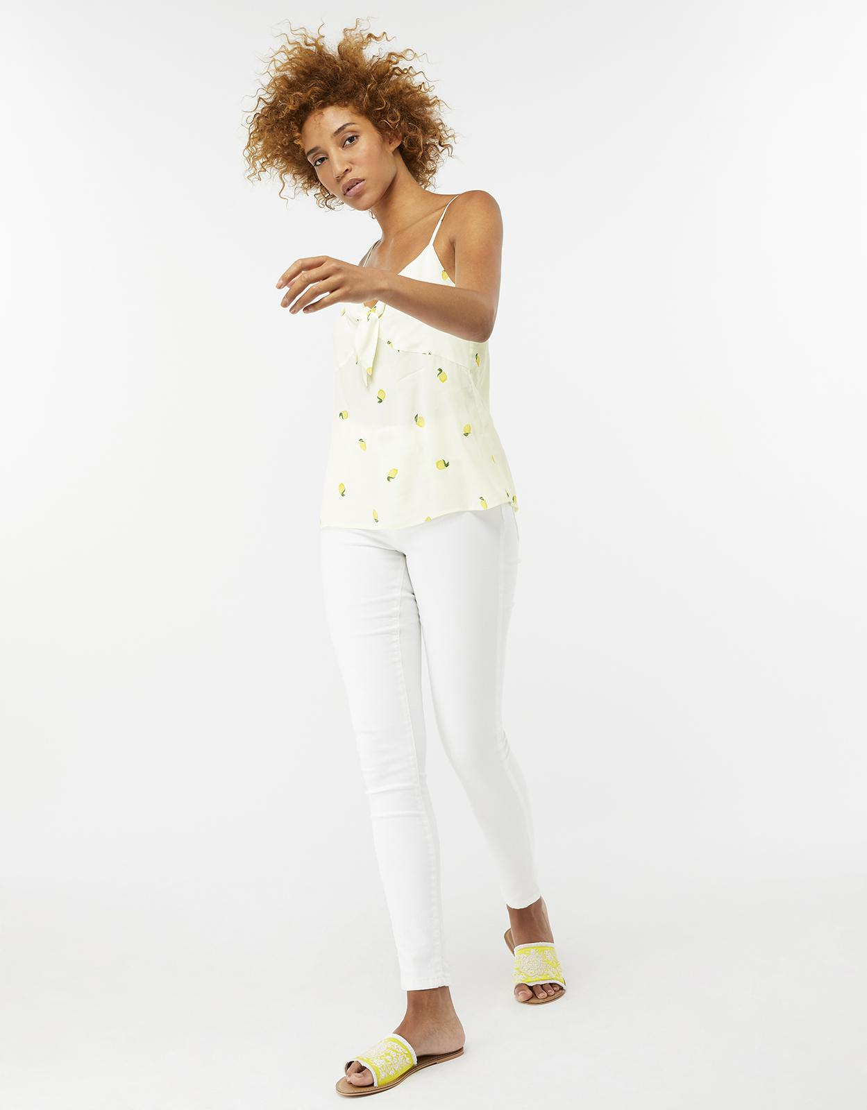 Monsoon Synthetic Pip Lemon Print Cami Top in White