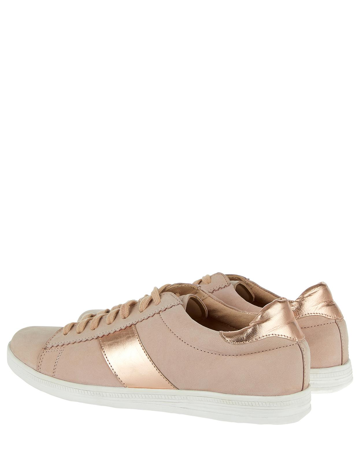Monsoon Canvas Natalia Nude Lace Up Trainers in Natural