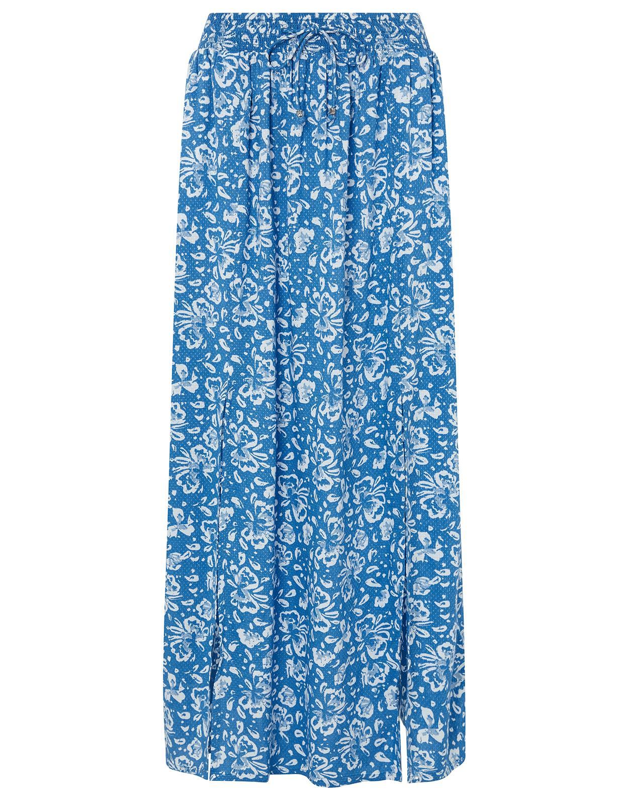 6a508ab84d Monsoon Carmen Split Front Maxi Skirt in Blue - Lyst