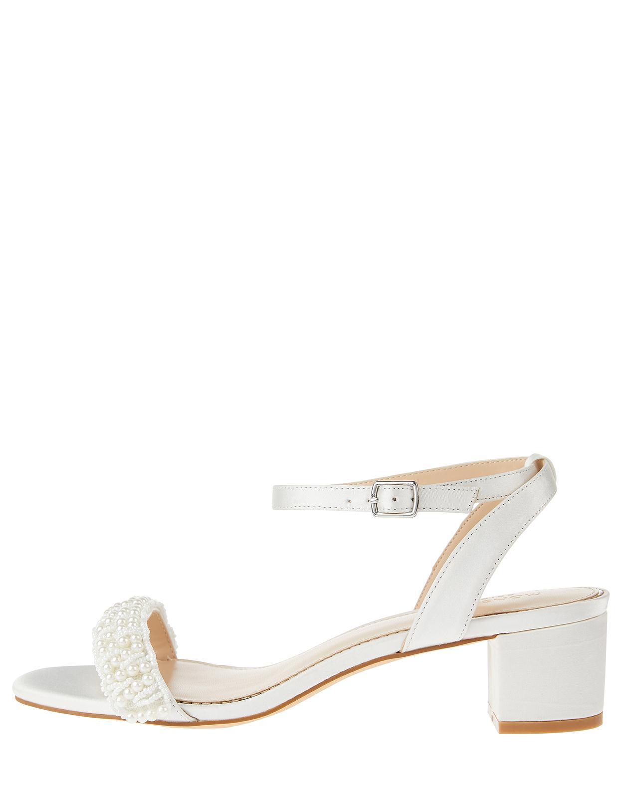 22dd0d98e95d Monsoon Laurel Pearl Low Block Heel Sandals in White - Lyst