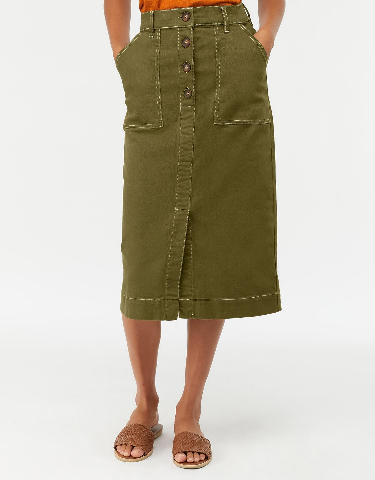 0fab398a85 Monsoon Ania Long Denim Skirt in Green - Lyst