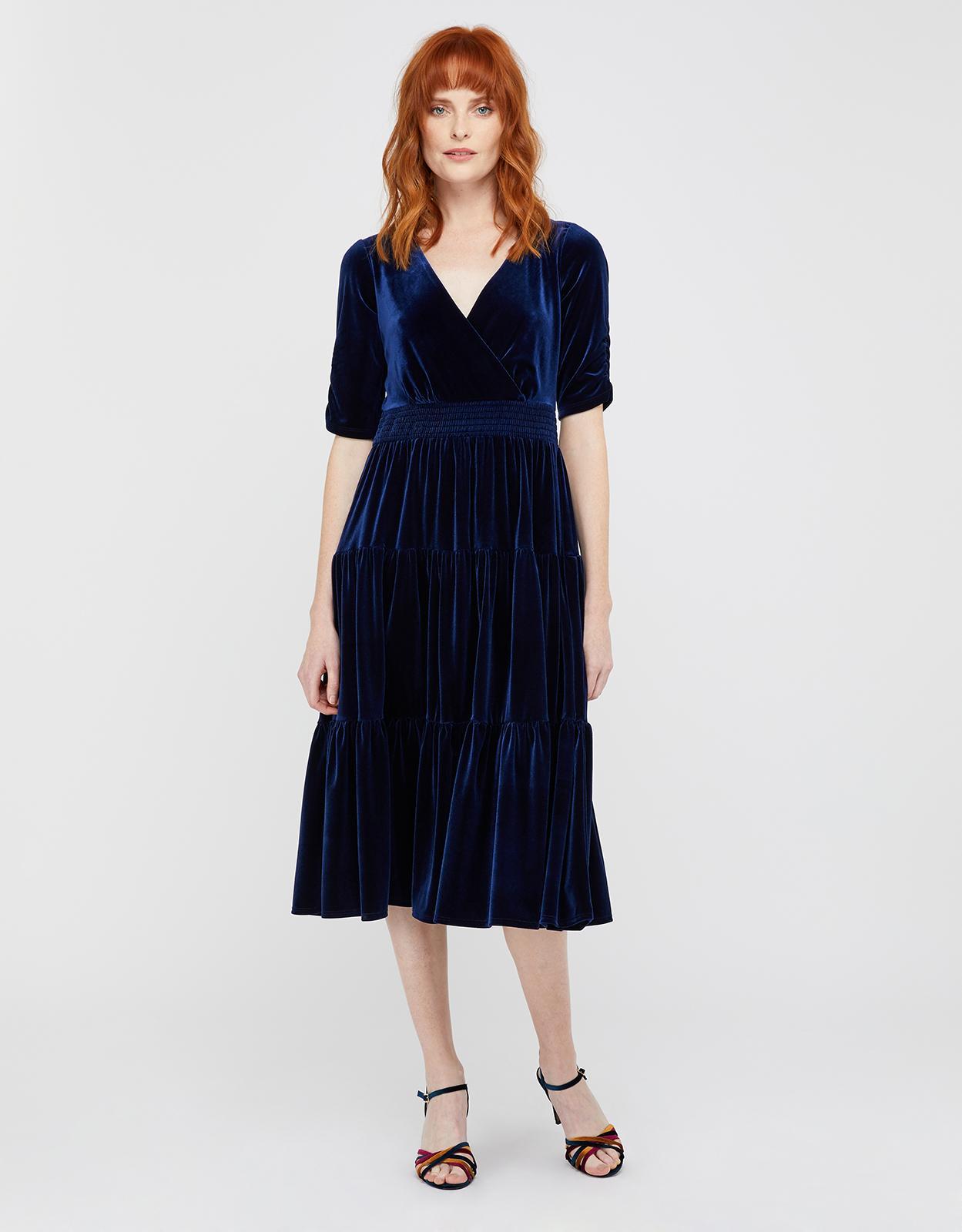 Monsoon Stevie Smock Velvet Midi Dress In Navy Blue Lyst
