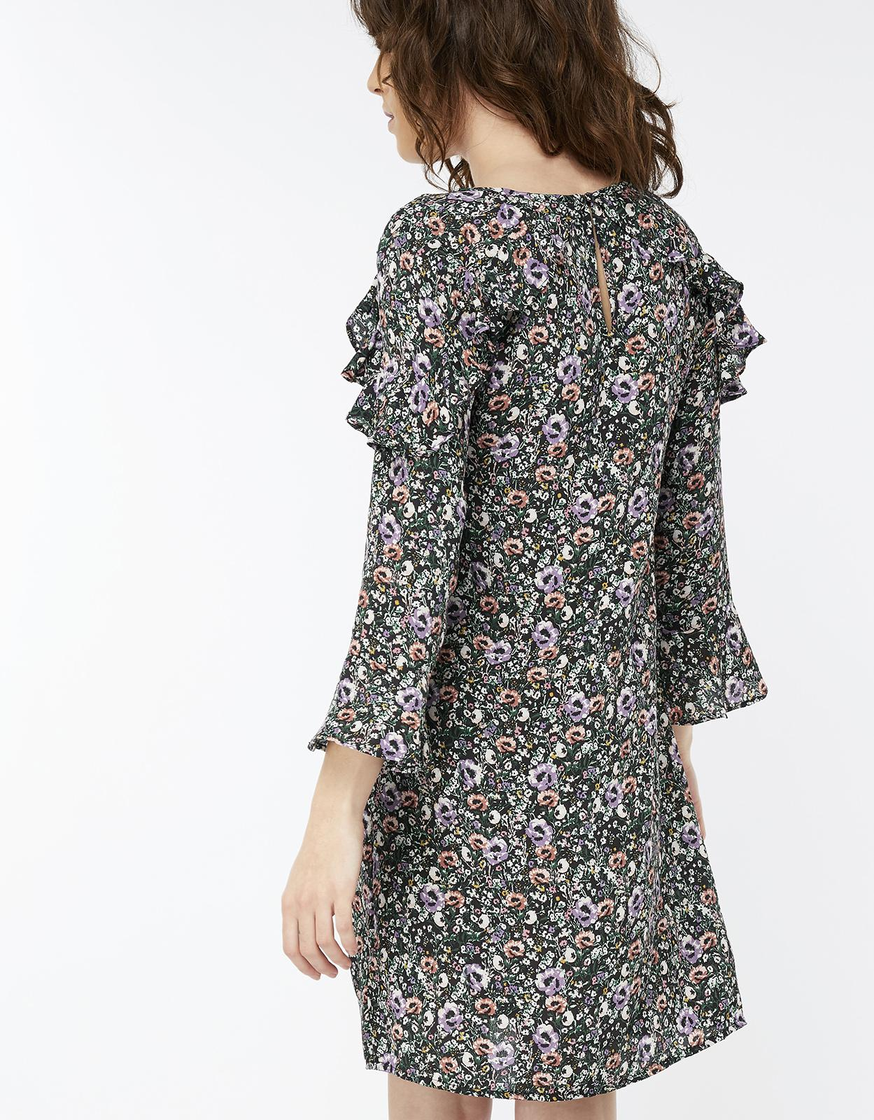 a905d810347c Monsoon Peony Print Tunic Dress in Black - Lyst