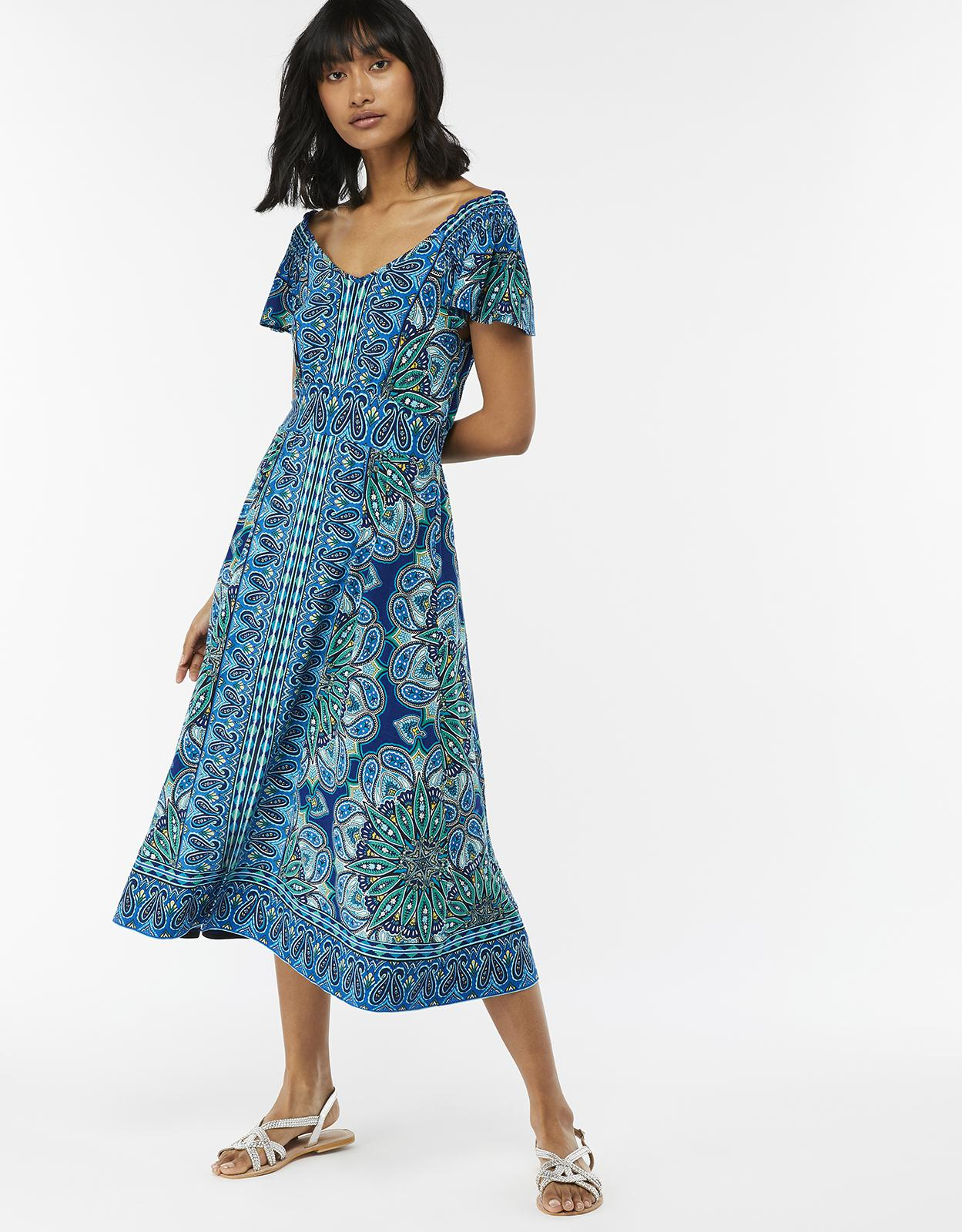 6a06279678 Monsoon Alaya Print Midi Dress in Blue - Lyst