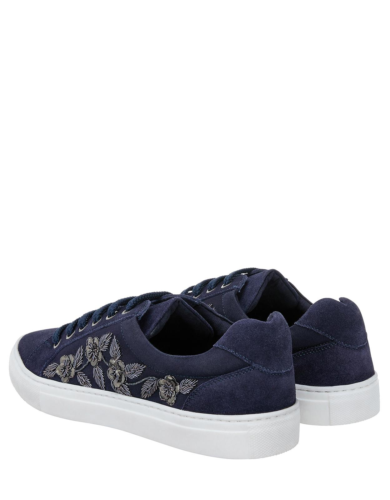 Monsoon Suede Erica Embroidered Trainers in Navy (Blue)