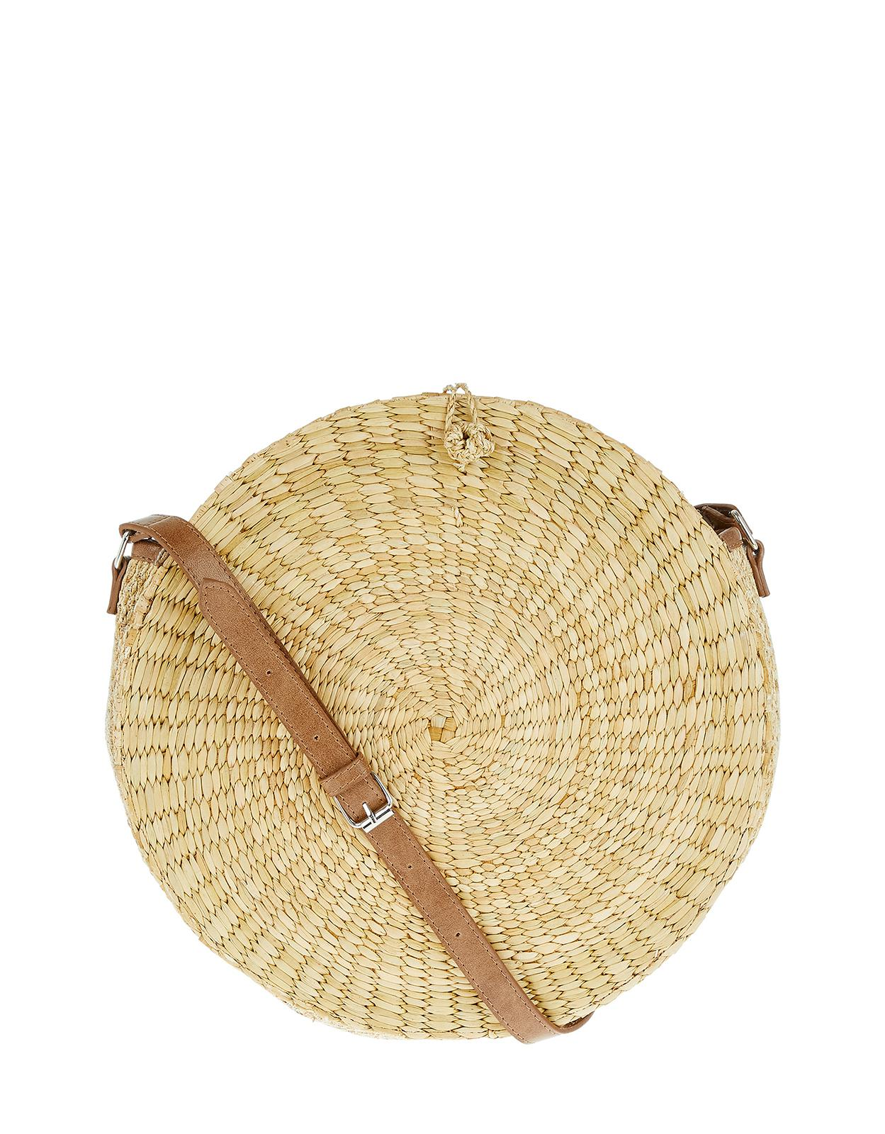 Monsoon Leather Rosa Round Straw Cross Body in Natural