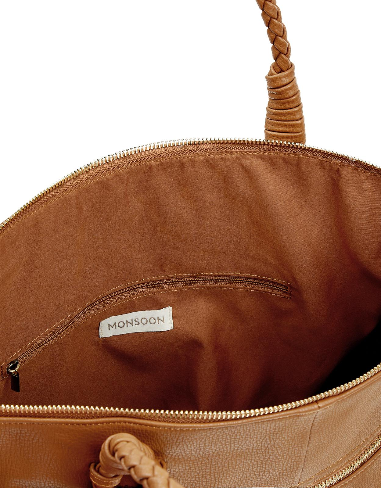 Monsoon Leather Cora Casual Plait Handle Tote Bag in Tan (Brown)