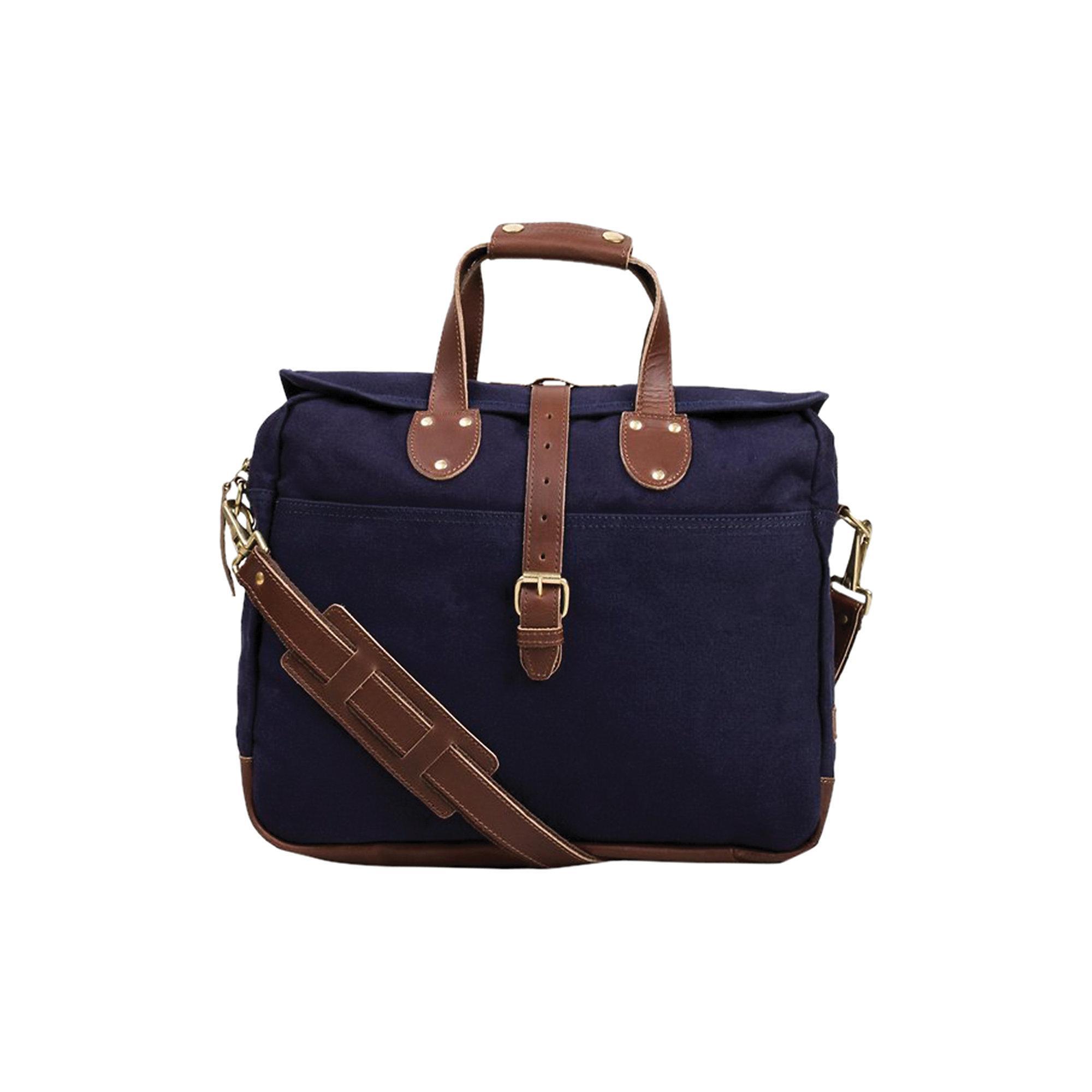Leather Lakeland Laptop Bag In Navy