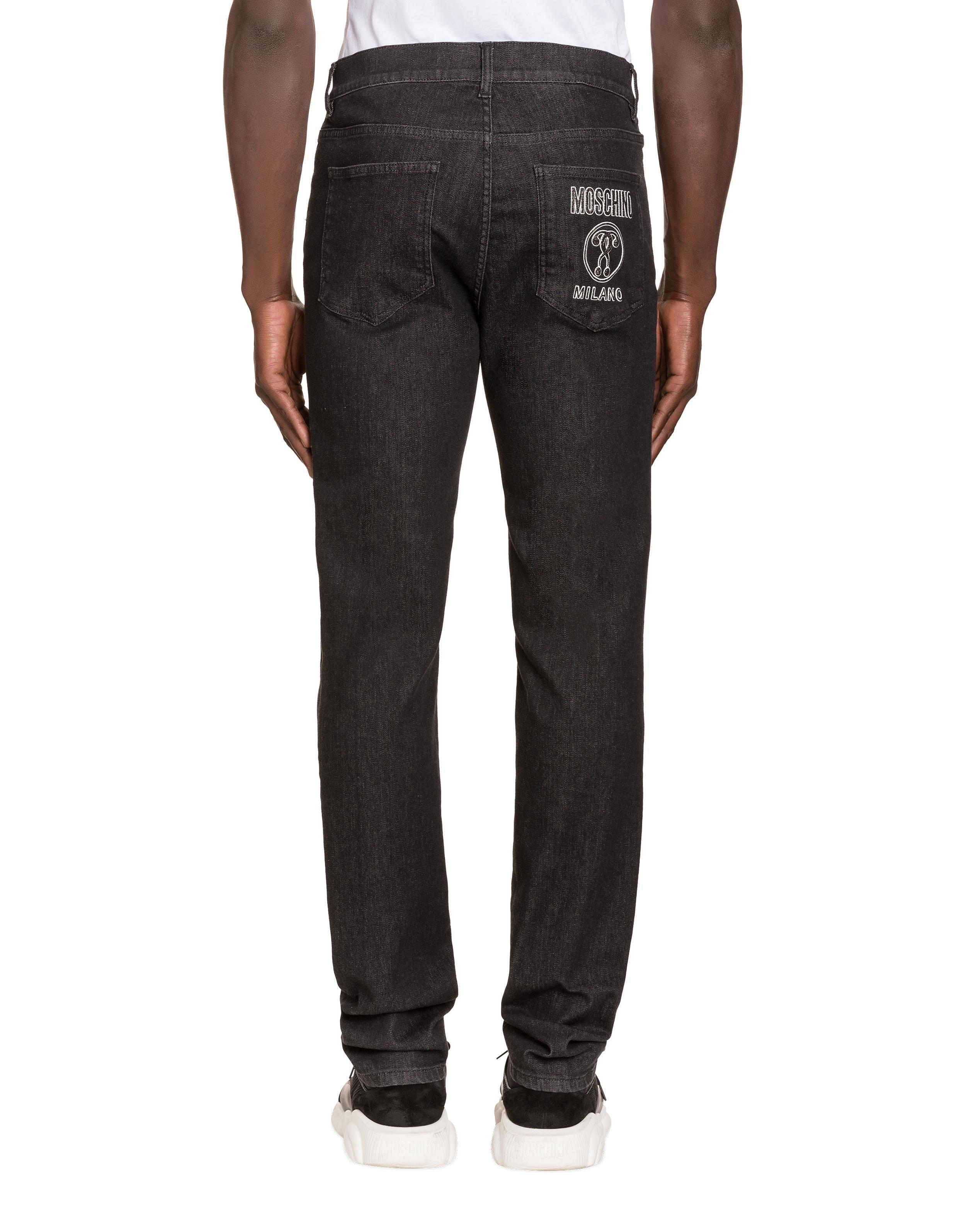 Pantalon En Denim Avec Double Question Mark Moschino pour homme en coloris Noir
