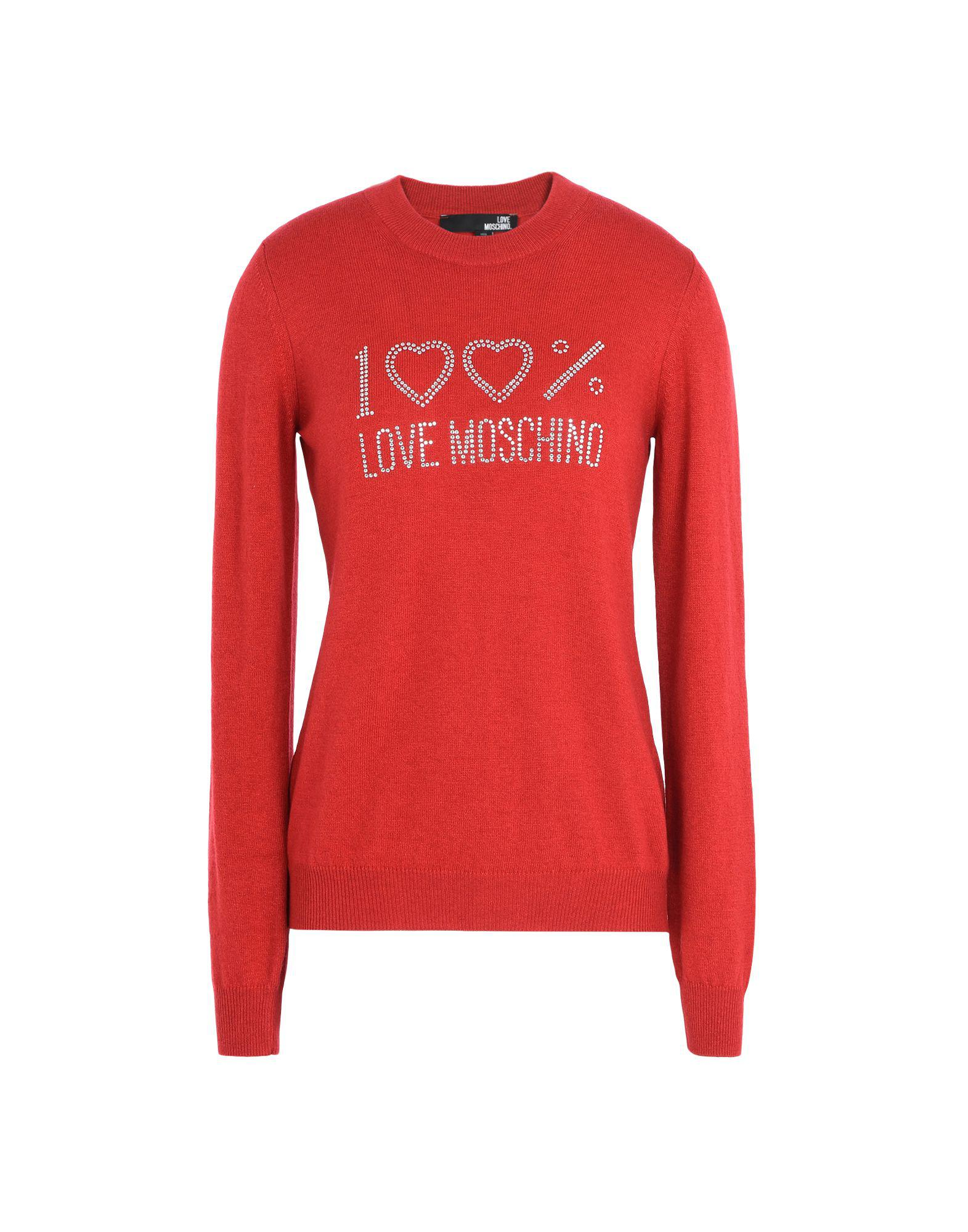 Lyst - Love moschino Long Sleeve Sweater in Red