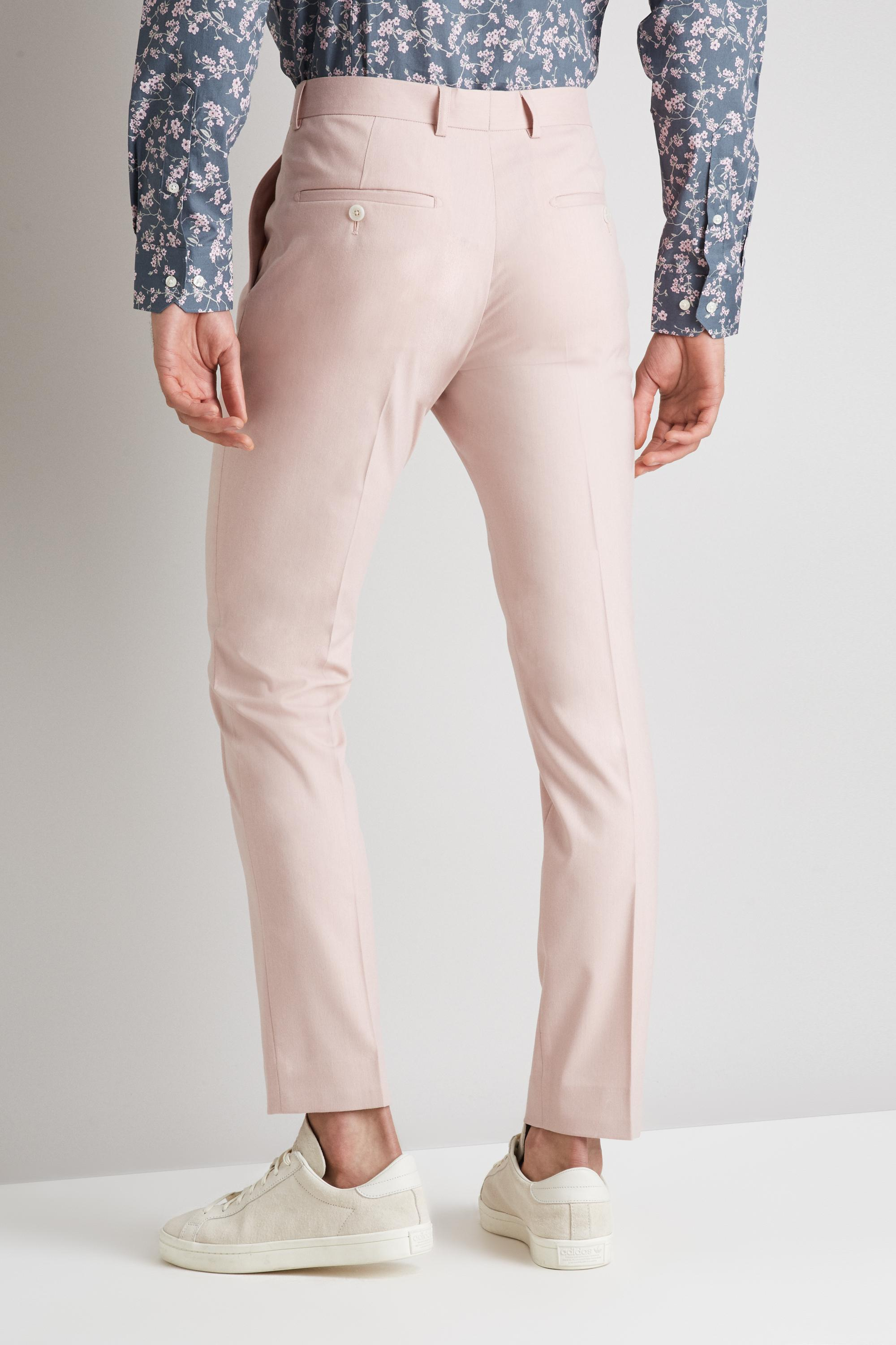 Moss London Synthetic Skinny Fit Dusty Pink Trousers for Men