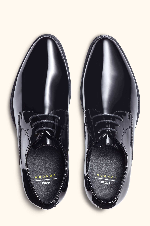 Moss London Leather Black Patent Dress Shoe for Men