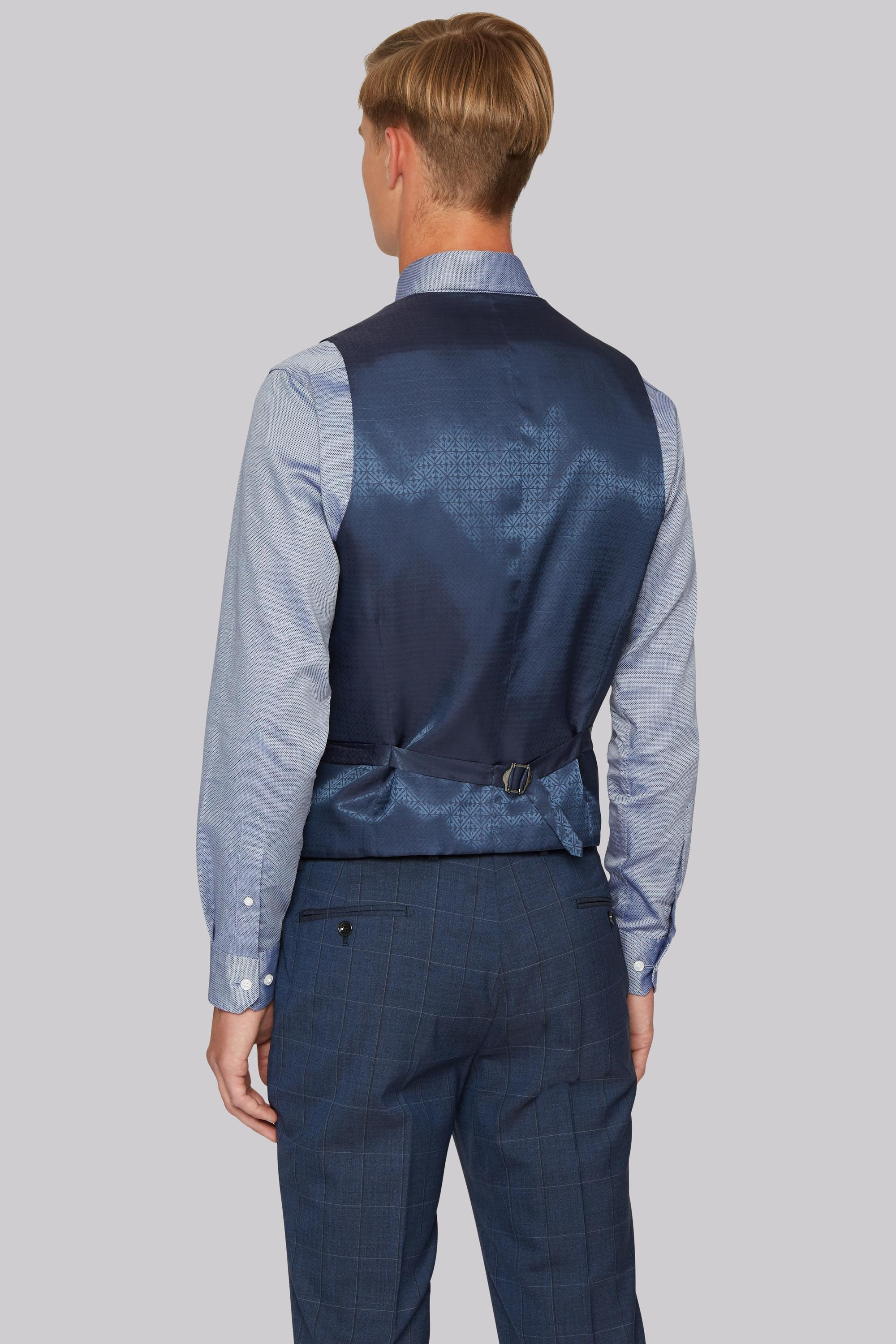 Hardy amies Tailored Fit Blue Melange Check Waistcoat in ...