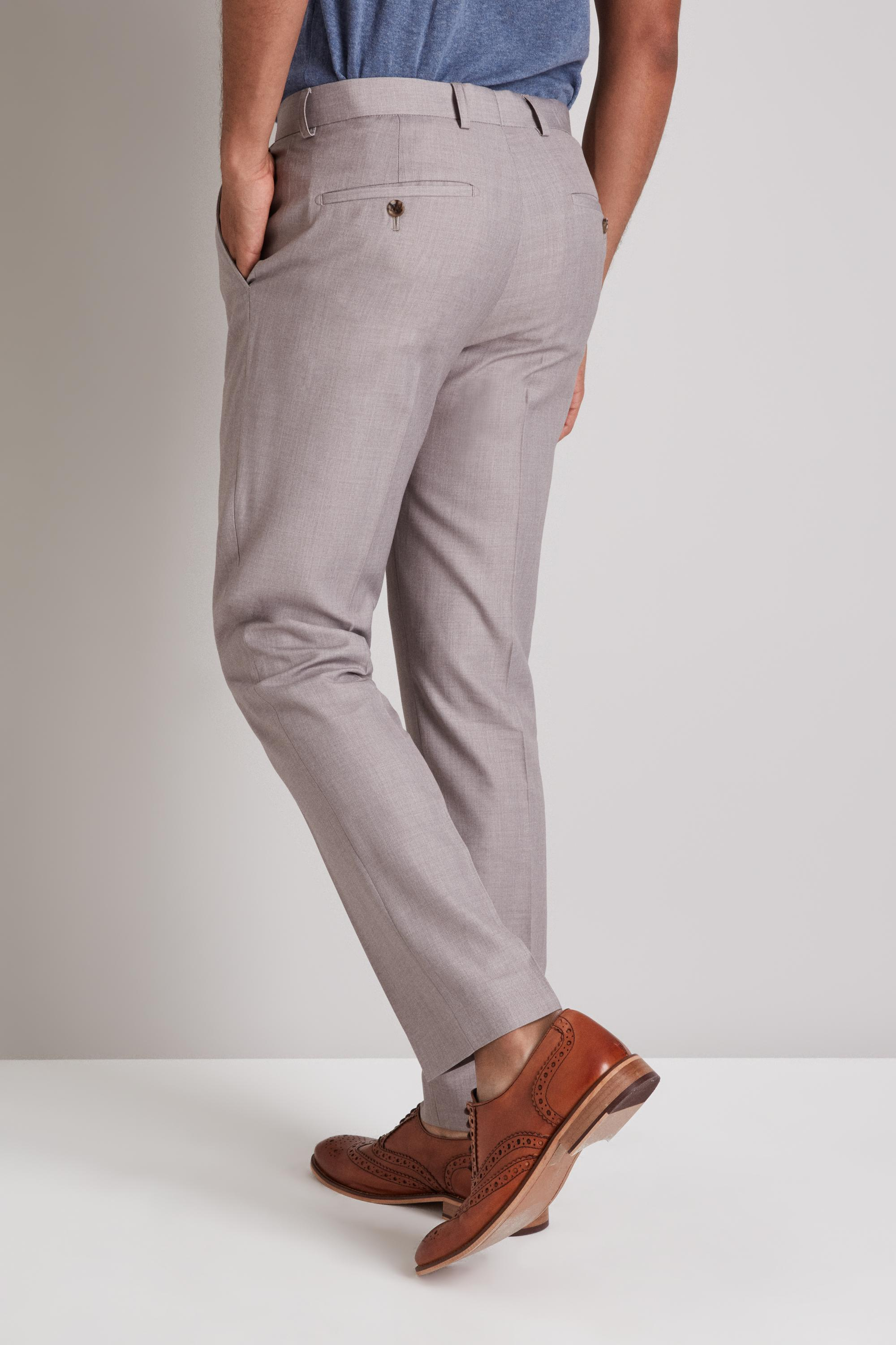 Moss London Synthetic Skinny Fit Taupe Trousers for Men