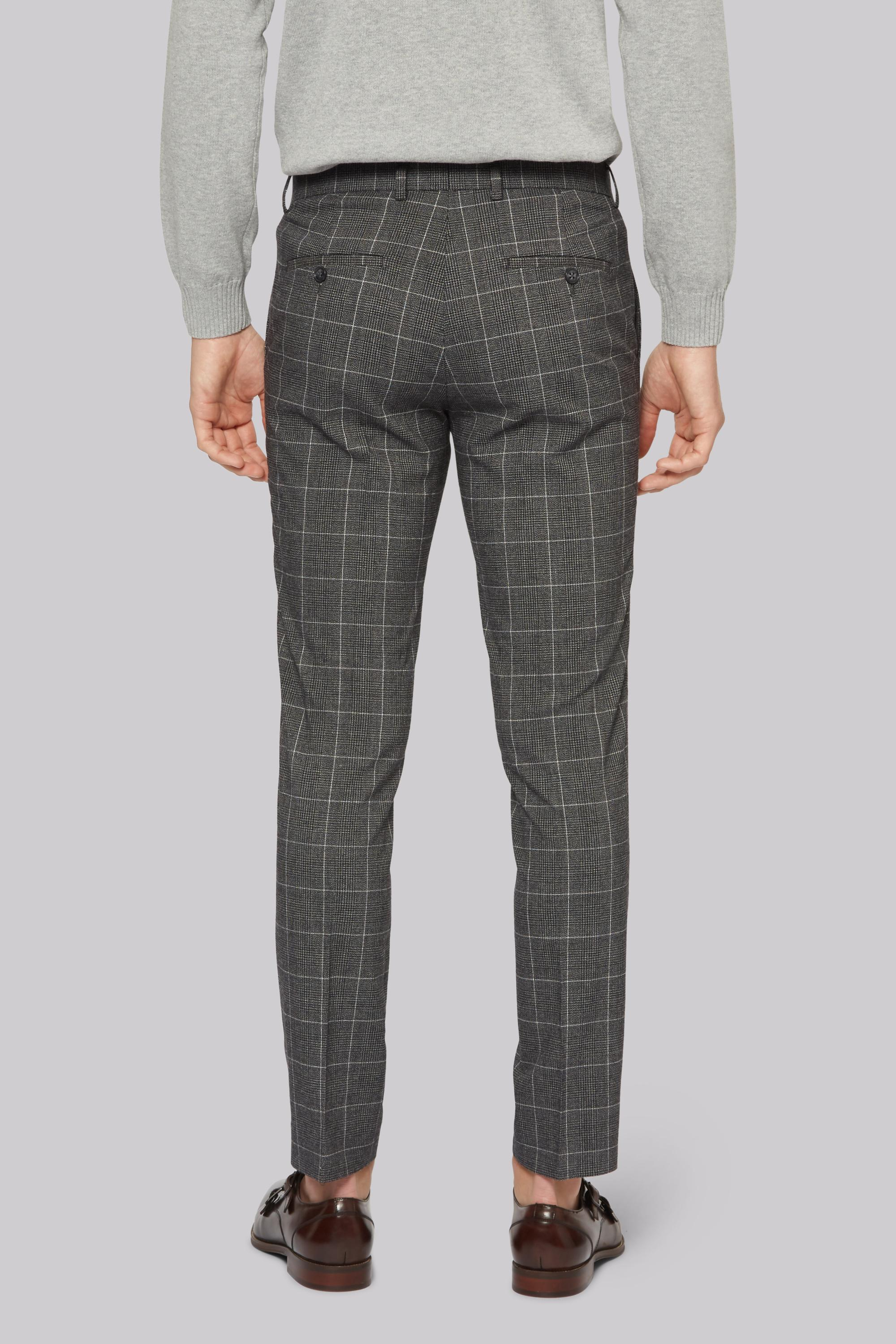 Moss London Synthetic Skinny Fit Charcoal White Check Trousers in Grey for Men