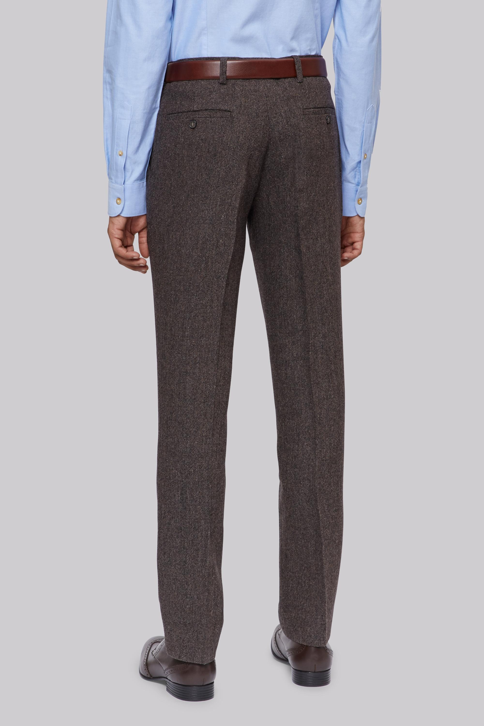Moss London Wool Brown Donegal Trousers for Men