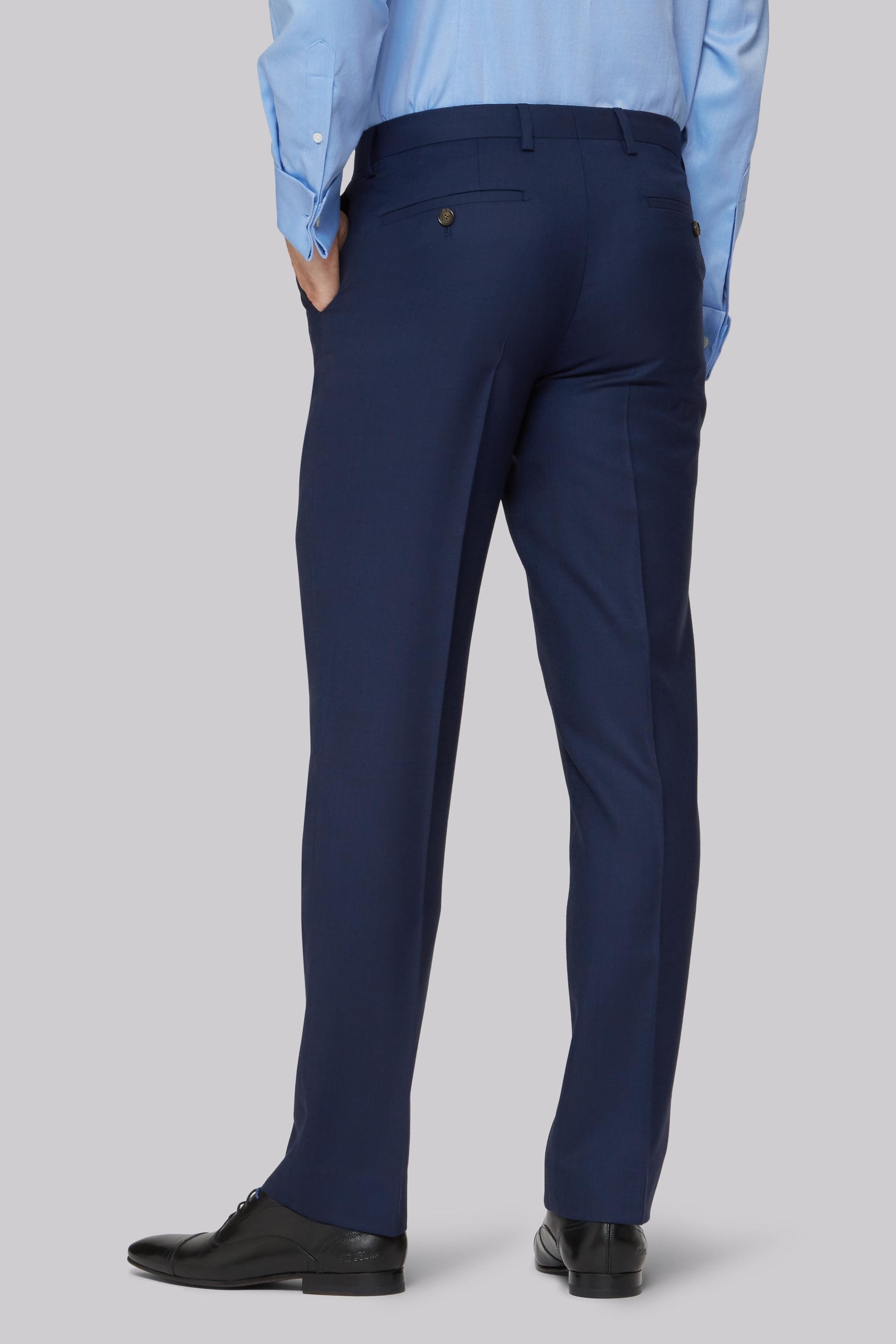 Ted Baker Wool Gold Tailored Fit Navy Two Tone Trousers in Blue (Metallic) for Men