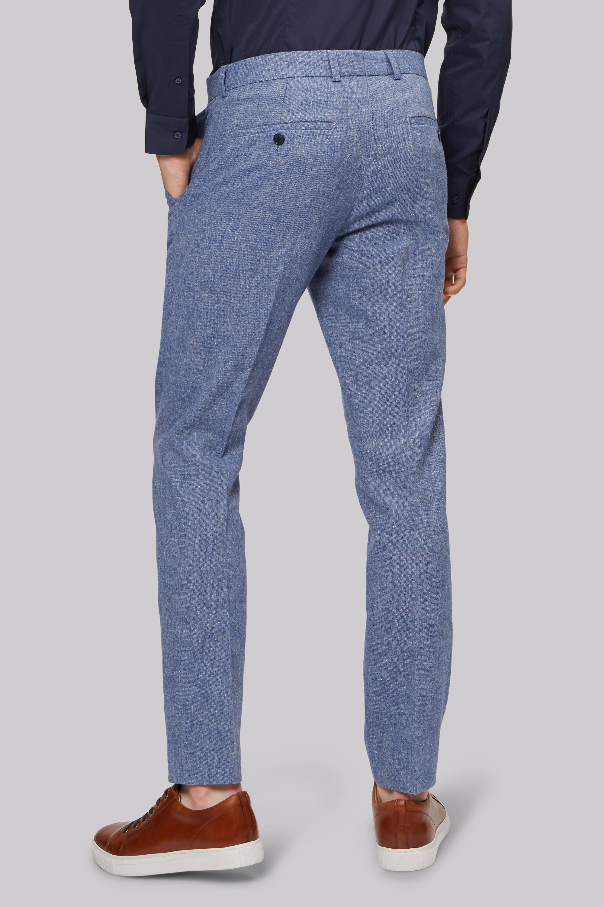 Moss London Synthetic Skinny Fit Ice Blue Donegal Trouser for Men
