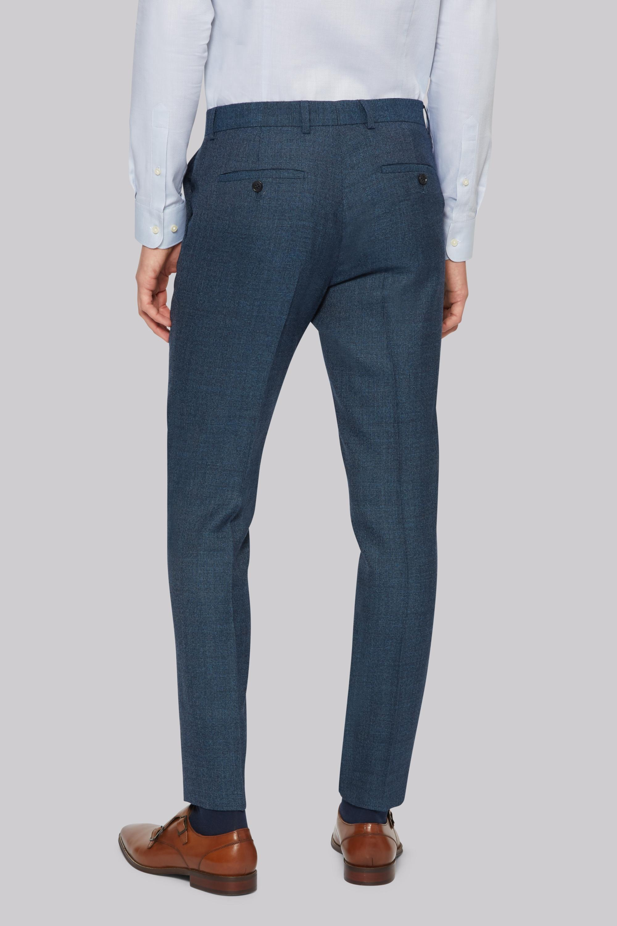 Moss London Wool Skinny Fit Bright Blue Texture Trousers for Men